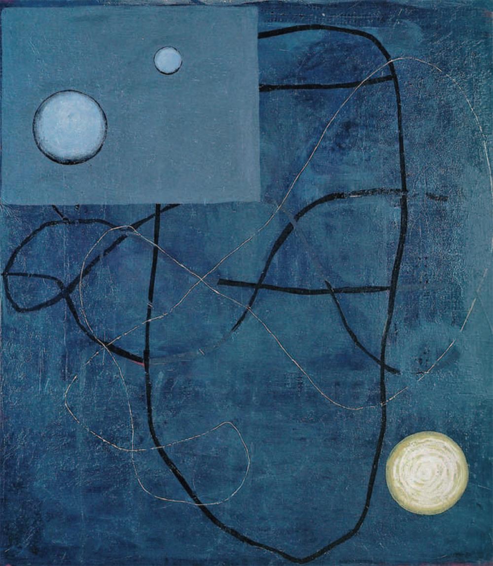 Cristina Barroso,Satellites, 1992 Acryl auf Leinwand, 180×160 cm