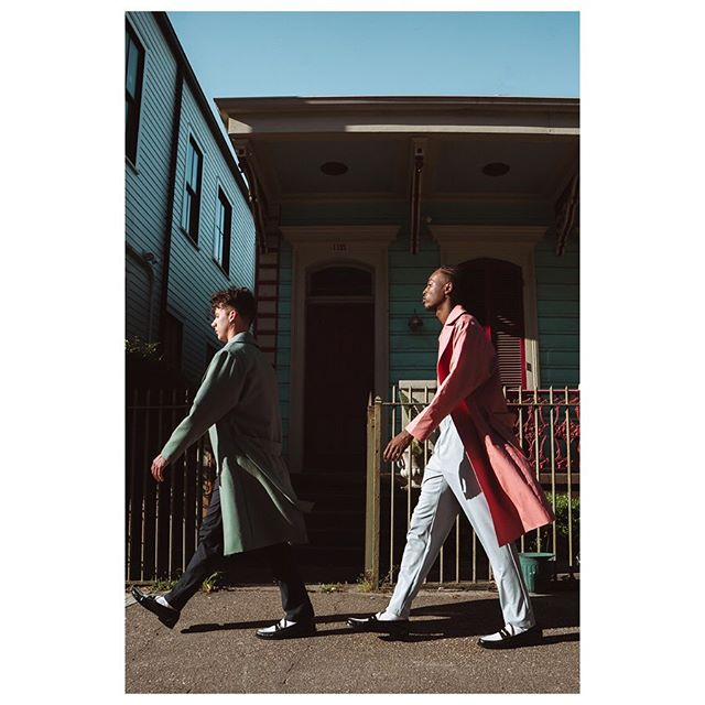 Antonio and Elii. Antonio in the Sage Wool Topcoat, Blue Floral Shirt, and Navy Seersucker Trousers. Elii in the Salmon Cotton Linen Topcoat, Light Blue Tee, and Light Blue Rayon Trousers. First photo by @tosin.p  Second photo by @caseyrearickphoto