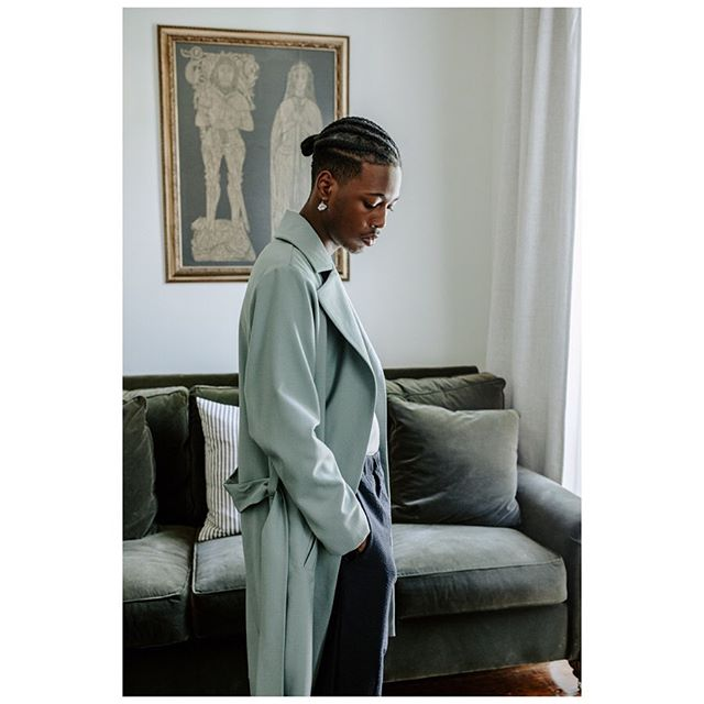 Our Trench Coat in 100% sage wool. The perfect fall coat. Made in Cleveland. Now available online.