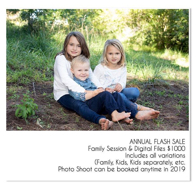 FLASH SALE - it's that time of the year!  Book now before you miss out on this amazing opportunity!  50% savings!  #katmonkphoto #prophotographer #katmonkphotography #portraitphotographer #portraits #familyphotographer #childrensphotographer #flashsale #digitalfiles