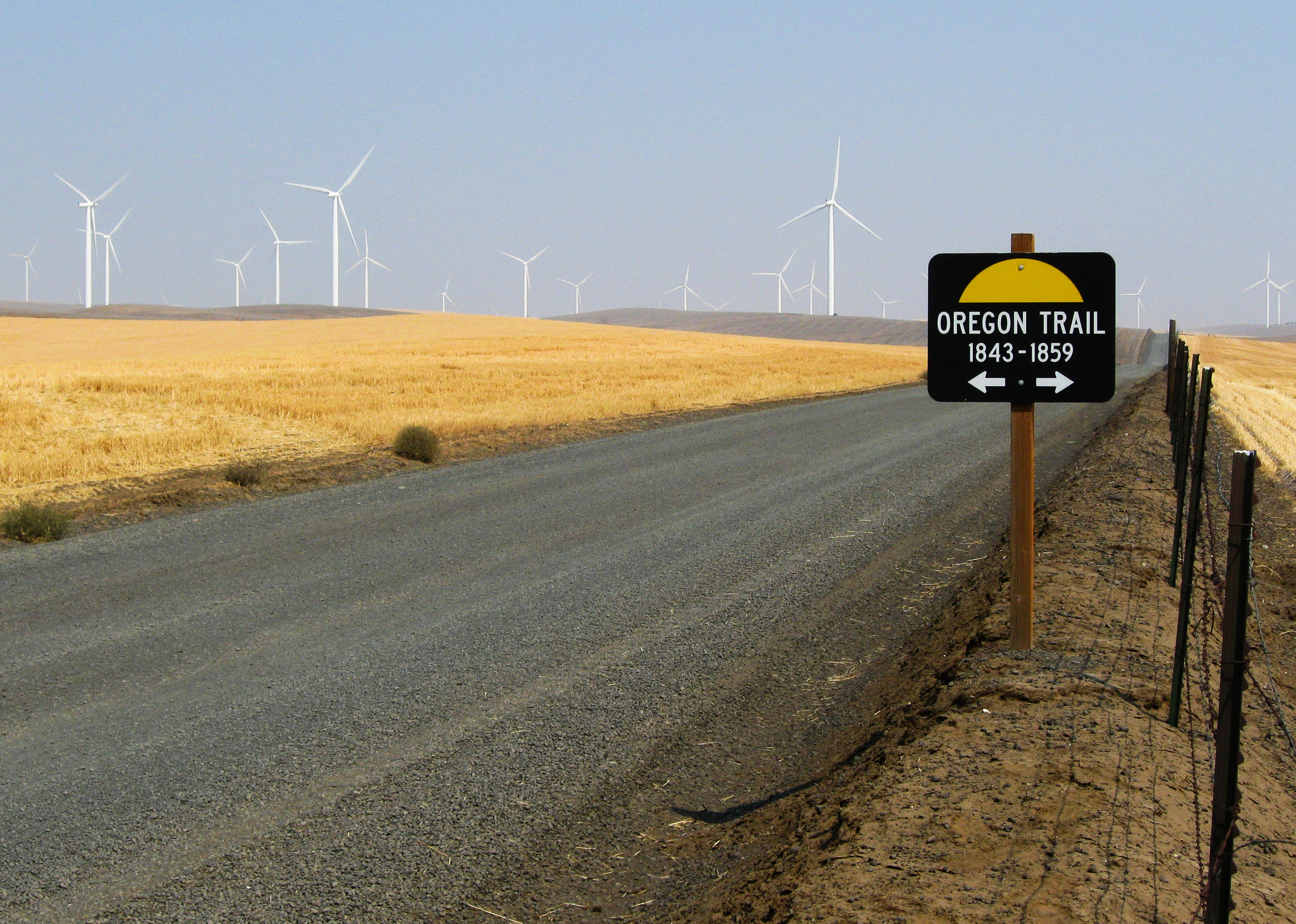 The  Biglow Canyon Wind Farm , owned by Portland General Electric, sits on the hills above the Columbia and John Day rivers outside the town of  Wasco .