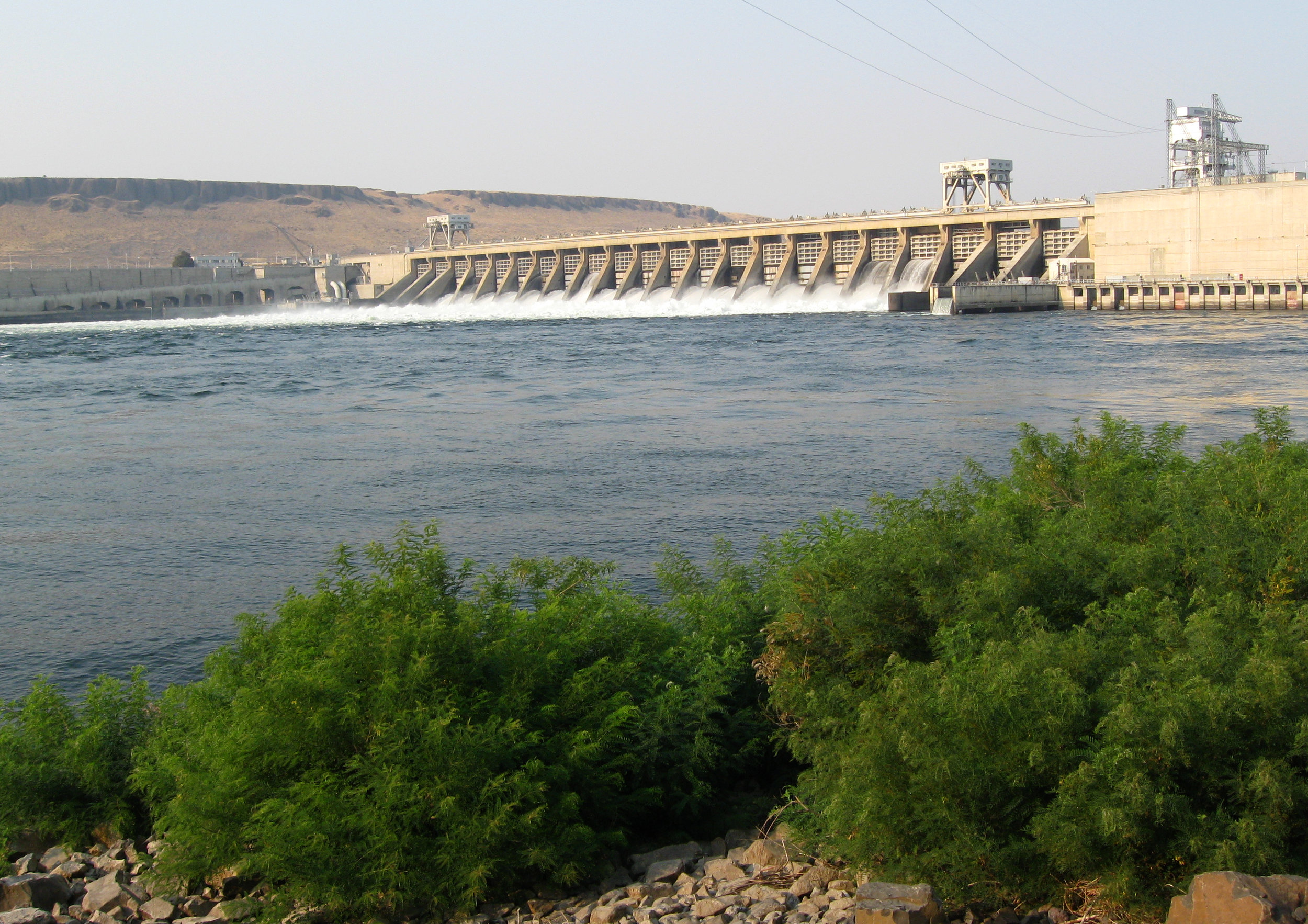 The  McNary Dam , near  Umatilla , opened in 1954 after seven years of construction.