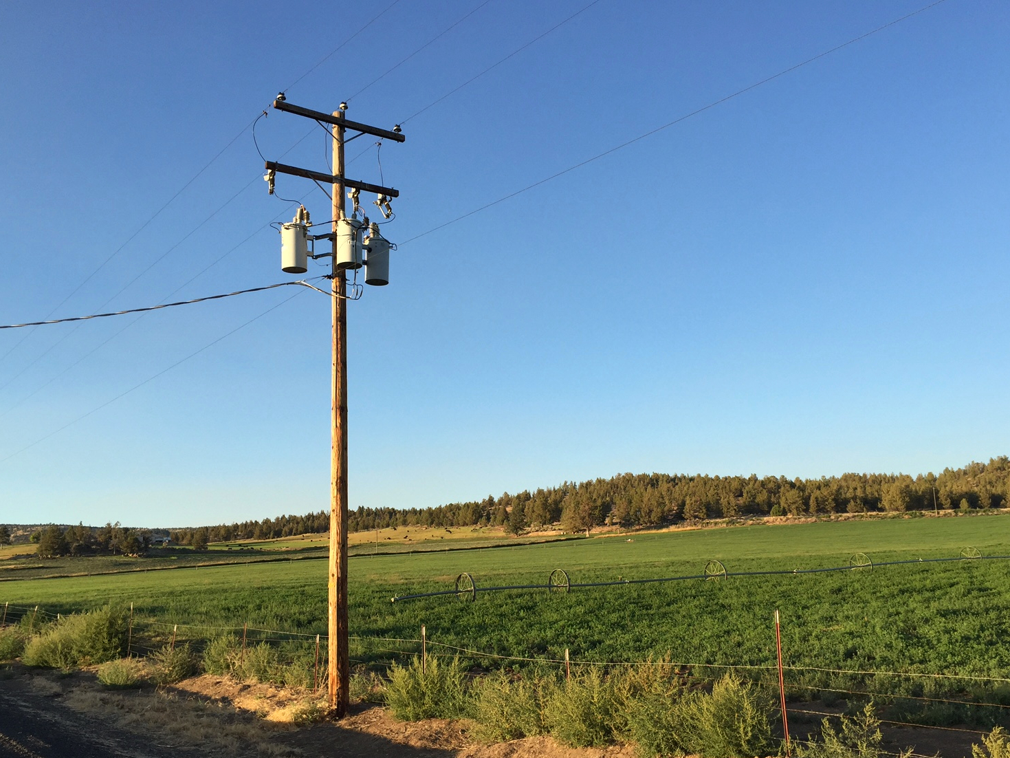 A power pole north of  Prineville .