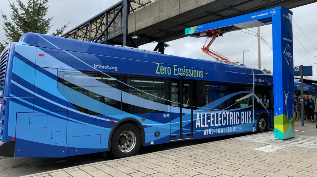 TriMet's Excelsior Bus Charges at Sunset Transit Station