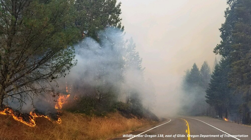 Wildfire near Oregon 138, east of Glide.  Photo: Oregon Department of Transportation