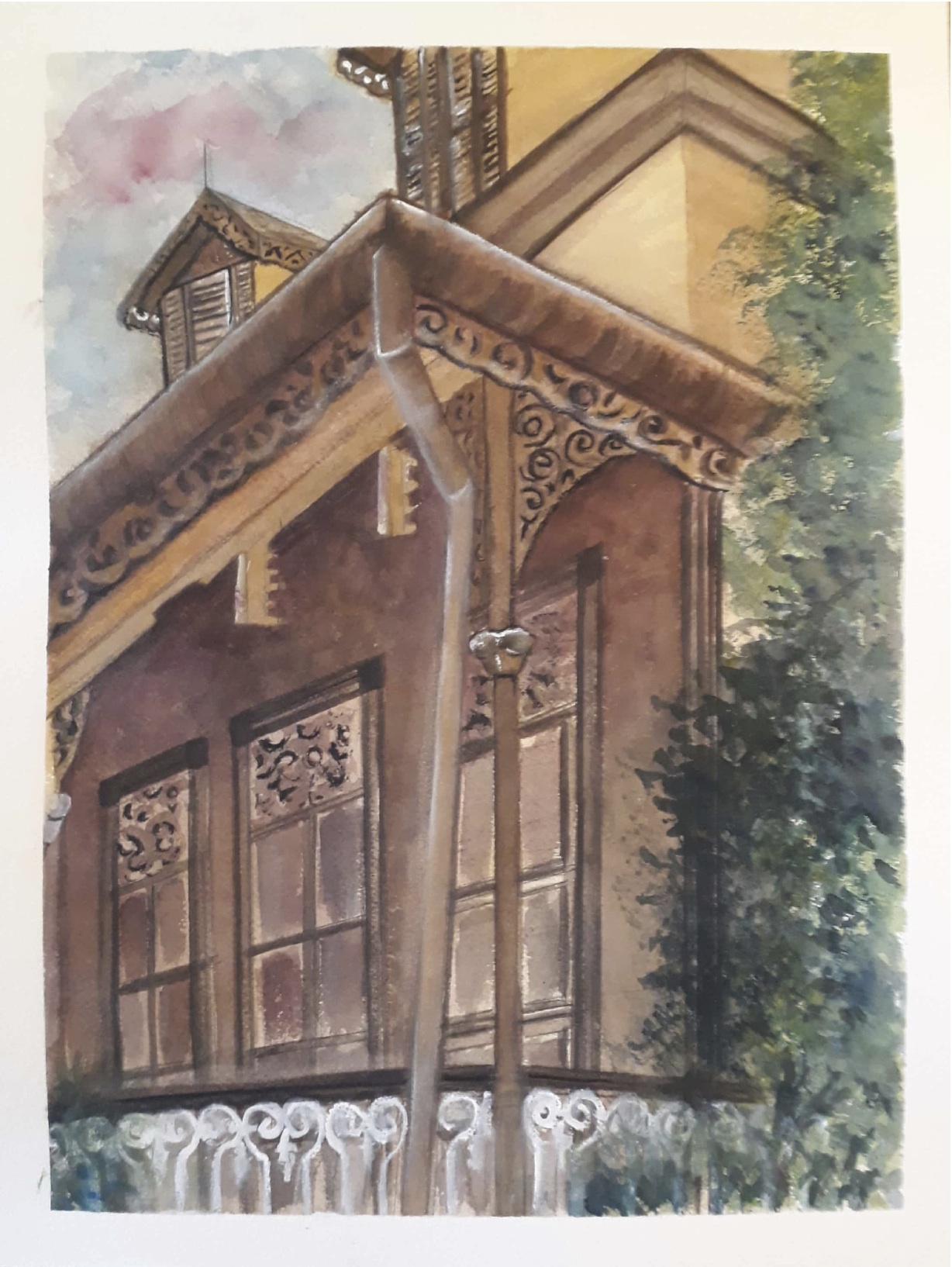 OLD LATTICE HOUSE PT3-OLHPT32017 - Original painting of an pld house on Oxford Street in Port of Spain