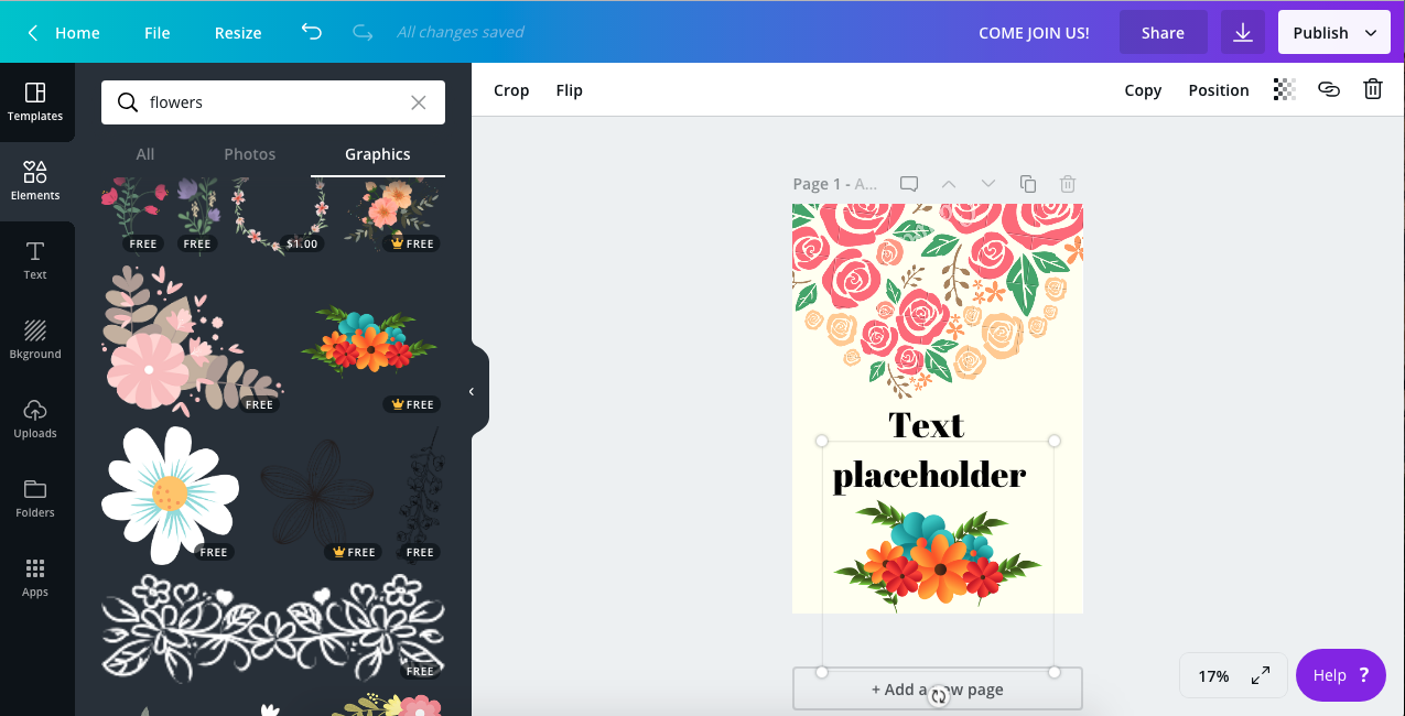 5. Using Canva by gafra.org. On the left type in flowers in the search area and place different flower designs on your   printable  .