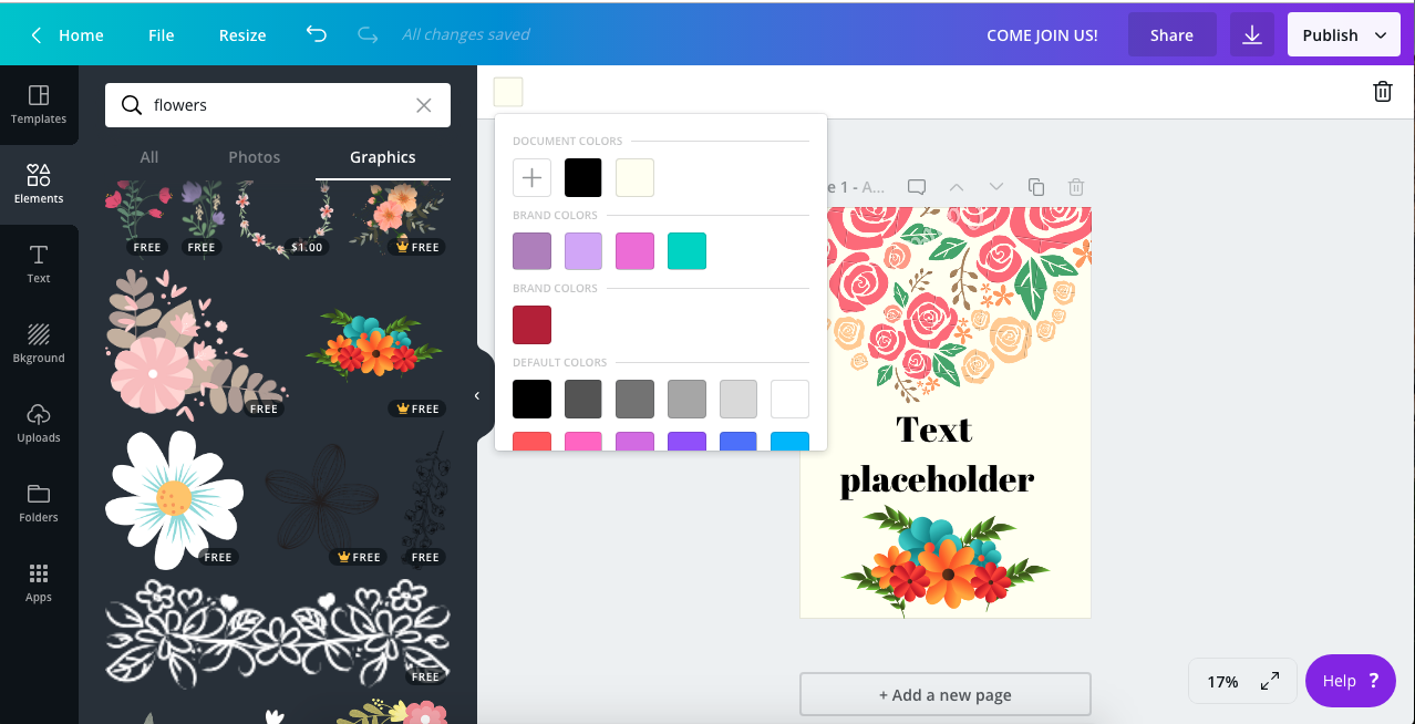 7. Using Canva by gafra.org. You can change the colours of the document, flowers text etc via the drop down colour palette.