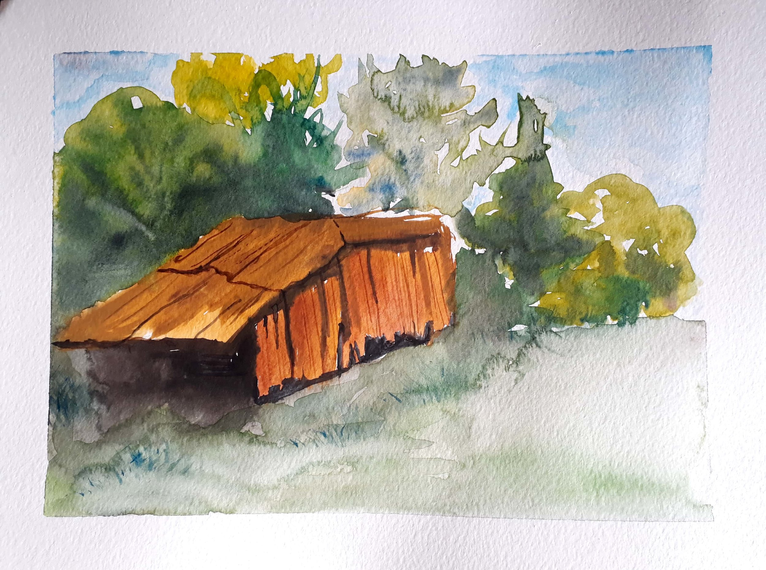 Bush Hut-BH2019 - Watercolour painting of a hut in Pawi, Toco in Trinidad