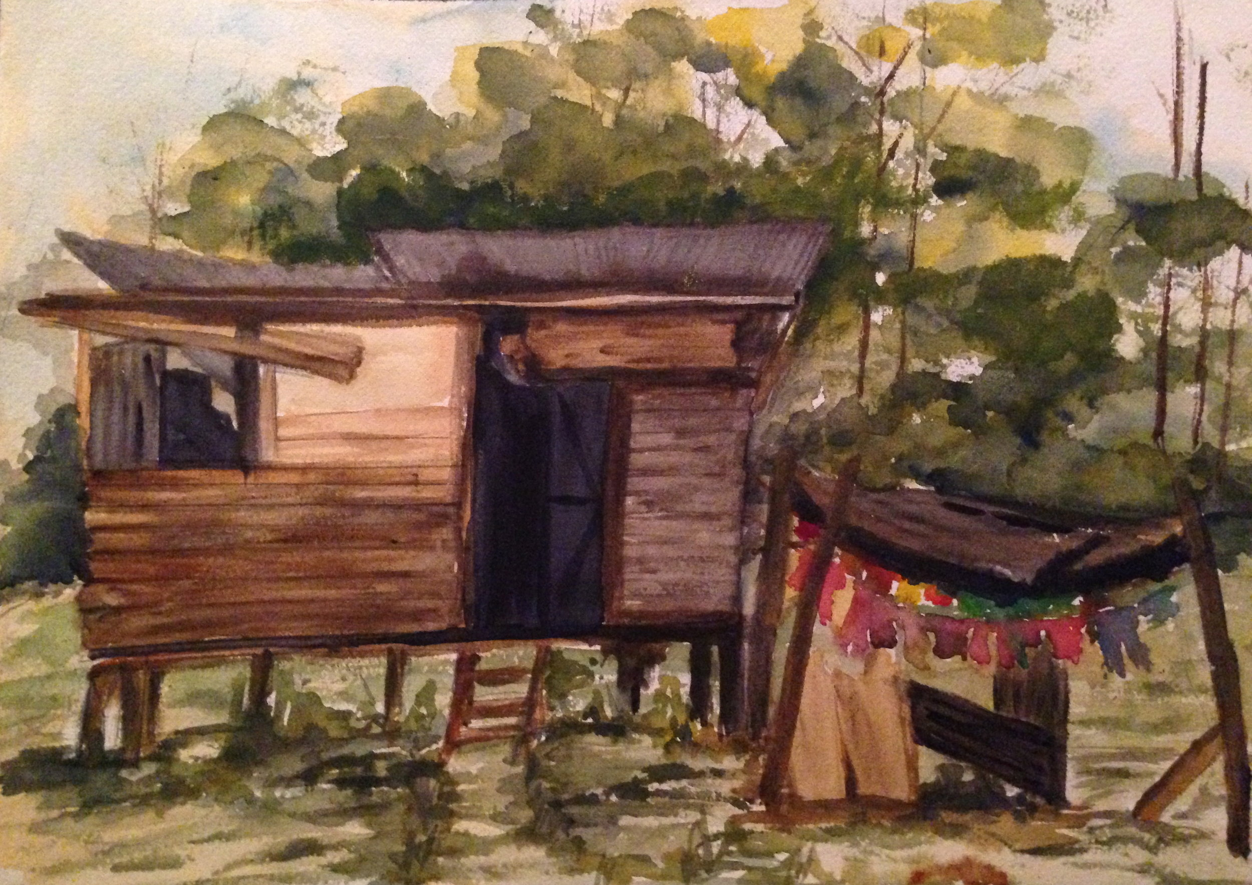 Country Shack-CS2016 - Original painting of a shack in Piparo