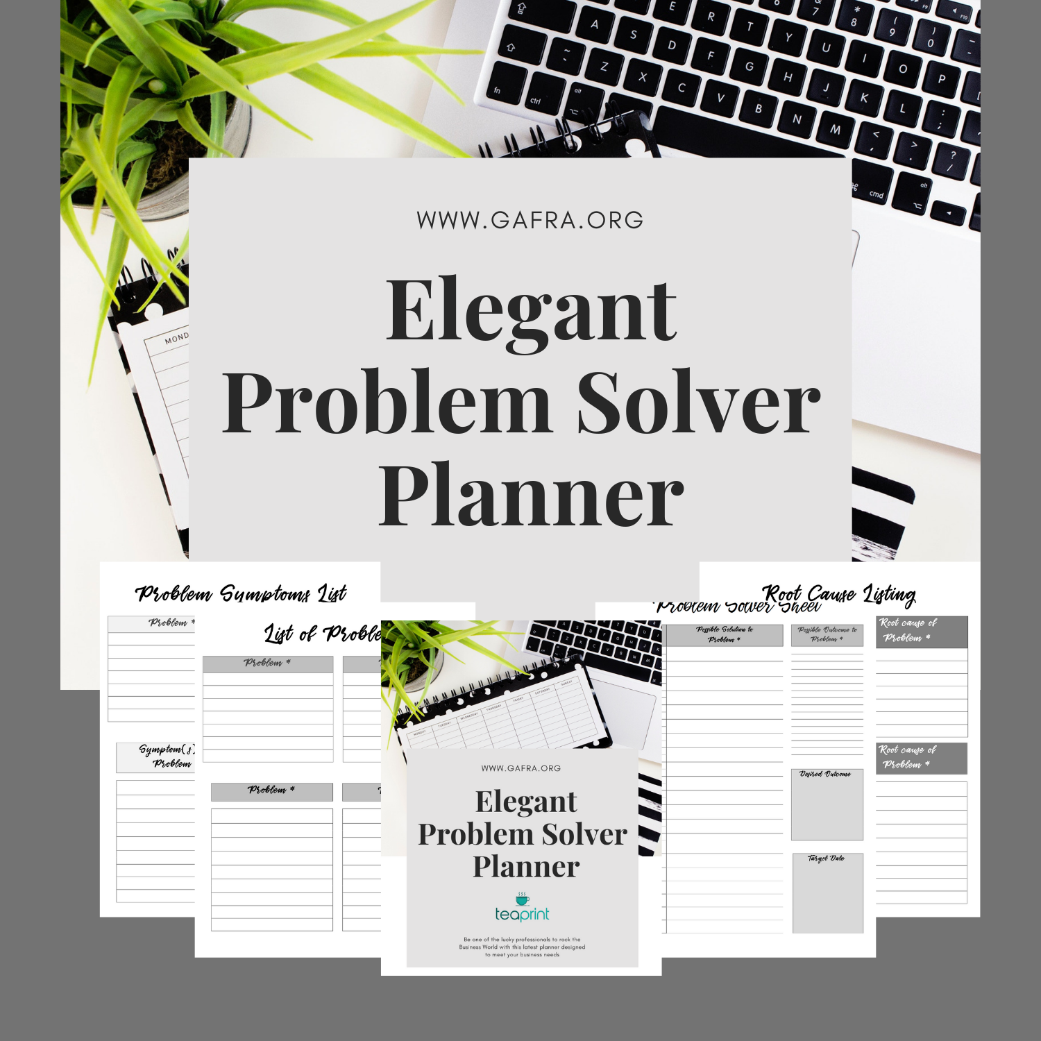 The unique Elegant Problem Solver Planner only available at www.gafra.org at my Etsy Shop at www.etsy.com/shop/teaprint