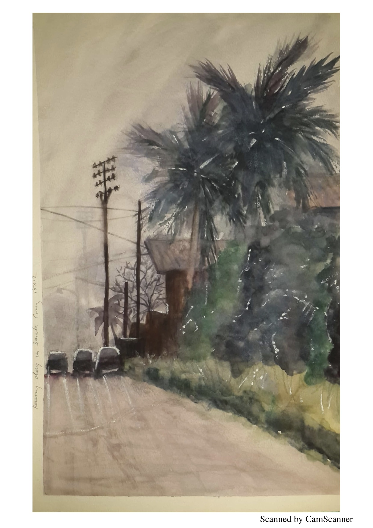 Rainy Day in Santa Cruz - Watercolour painting I did.