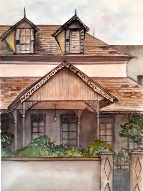OLD LATTICE HOUSE PT2-OLHPT22017 - An original painting of the front view of the old house on Oxford street