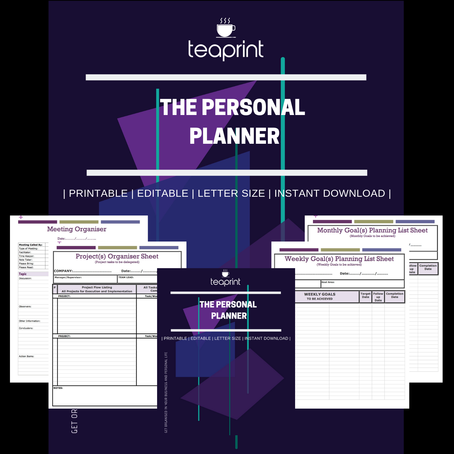 Printable Personal Planner at Teaprint on Etsy