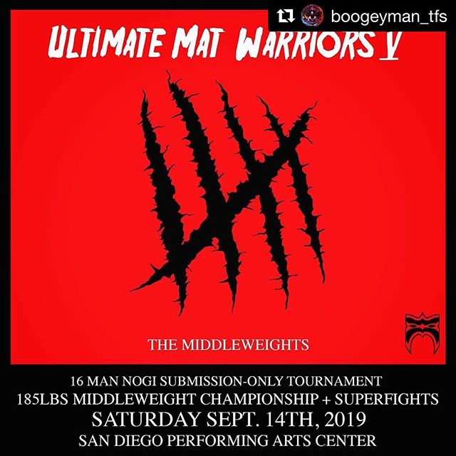 Seems like just yesterday we traveled down to San Diego to watch @duck_jitsu and @marcelocohenbjj compete on Ultimate Mat Warriors. And in less than 2 weeks we make that journey again! This time though, @pooh.jitsu has a match along side great friend @morganmatuizek . We also have @caveman_ratliff throwing down in the 185lbs tournament! Let's bring another belt back up to the Pacific Northwest!  #Repost @boogeyman_tfs ・・・ • For #UMW5 tickets go to https://ultimatematwarriors.thrivecart.com/umw-gen-092019/ or go to the link in our profile • • Event sponsors:  @cavemancoffeeco  @phalanx_usa  @thetipsycrow @cityrainco @recoveryscienceinc  @perfektzero @bjjworldtv2 . . . . . #jiujitsu #ultimatematwarriors #sandiego #nogi #nogijiujitsu #grappling #middleweights #choke #strangle #bjj #brazilianjiujitsu