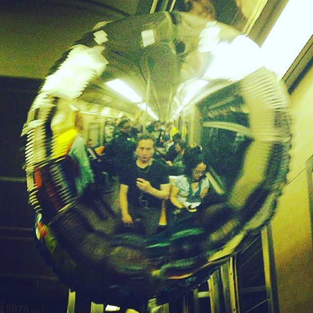 Nothing like a little #balloon #reflection to put things in #perspective when on the #Atrain in #RushHour. . . . . . . . #subwaycreatures #straphangers #nyc #nycsubway #mta #subwayphotography #subway #8thave #8thavenue #eighthavenue #newyorkcity🗽 #newyorkcity #celebration #itsacelebration #itsacelebrationbitches #commute #commuterlife #newyorkersbelike