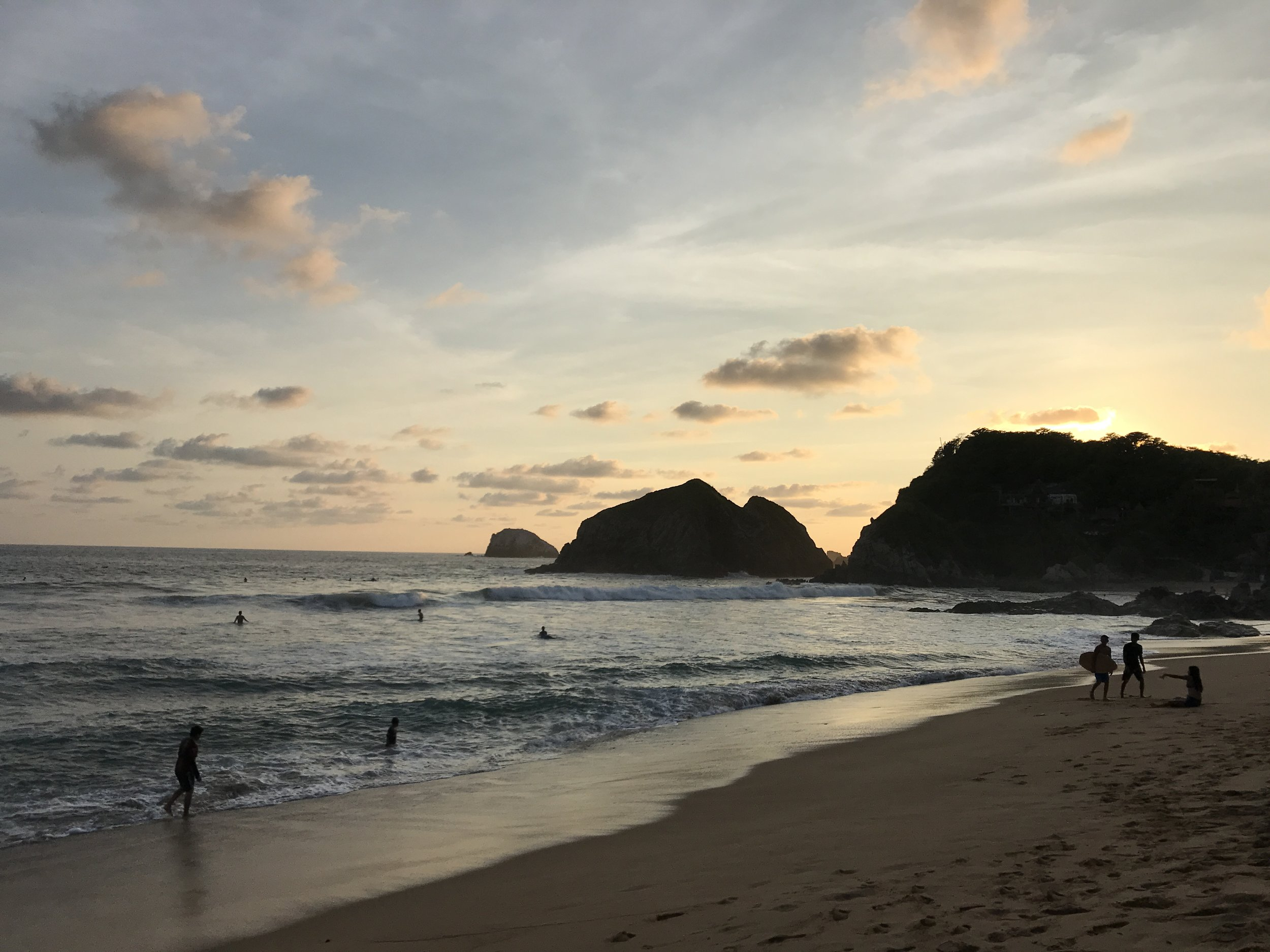 Playa Zipolite at Sunset