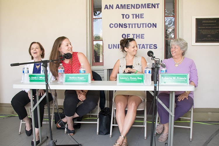 The dynamic panel of ERA Day, (left to right), Linda Wharton J.D., Professor of Political Science at Stockton University; Bettina Hager, COO & DC Director, ERA Coalition; Laura Dunn, Esq., attorney and Founder of SurvJustice; and moderator Roberta Francis, founder of  www.EqualRightsAmendment.org .