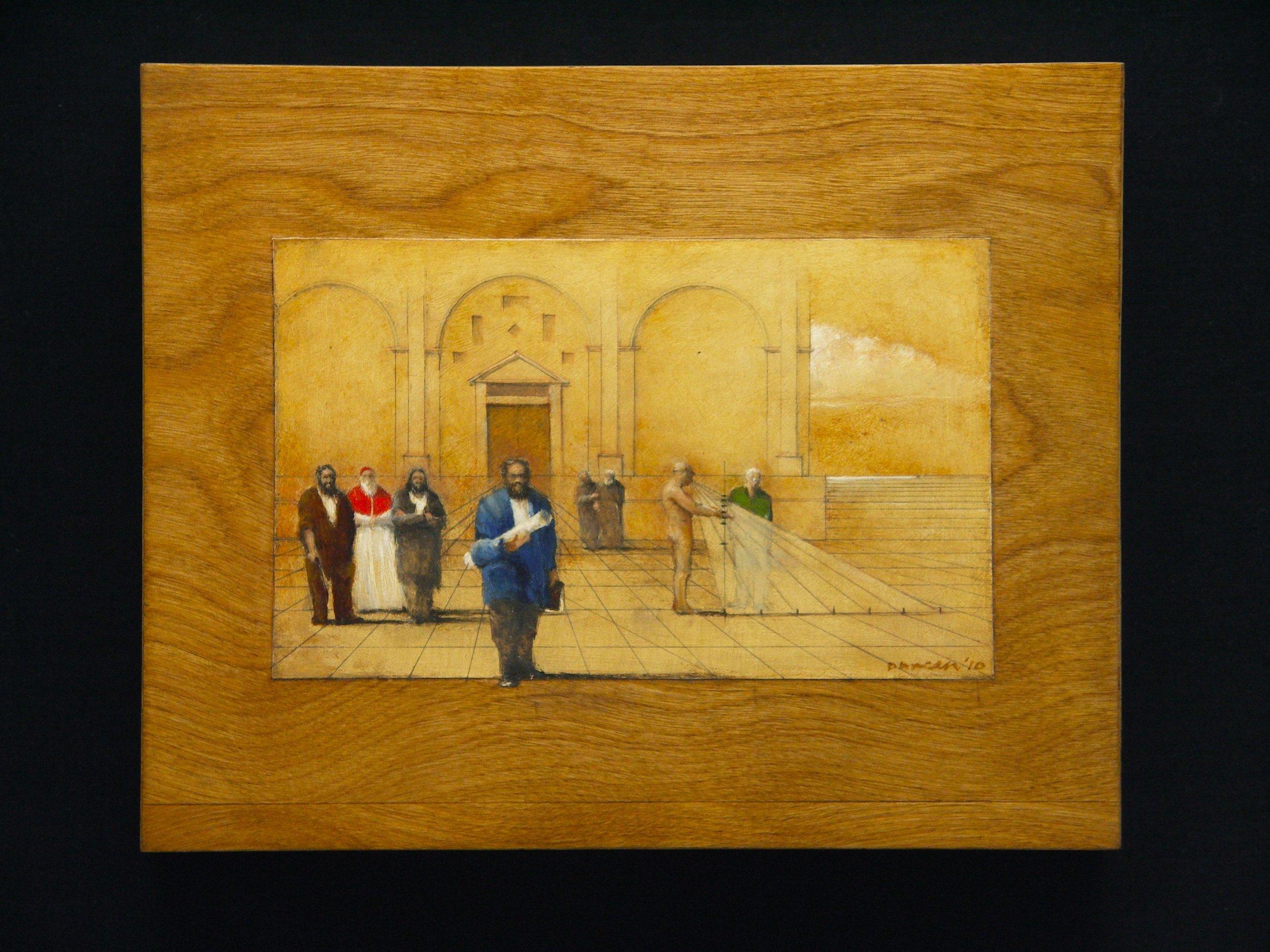 """Alberti's Mathematica   Oil / graphite on wood panel  10"""" x 8"""""""
