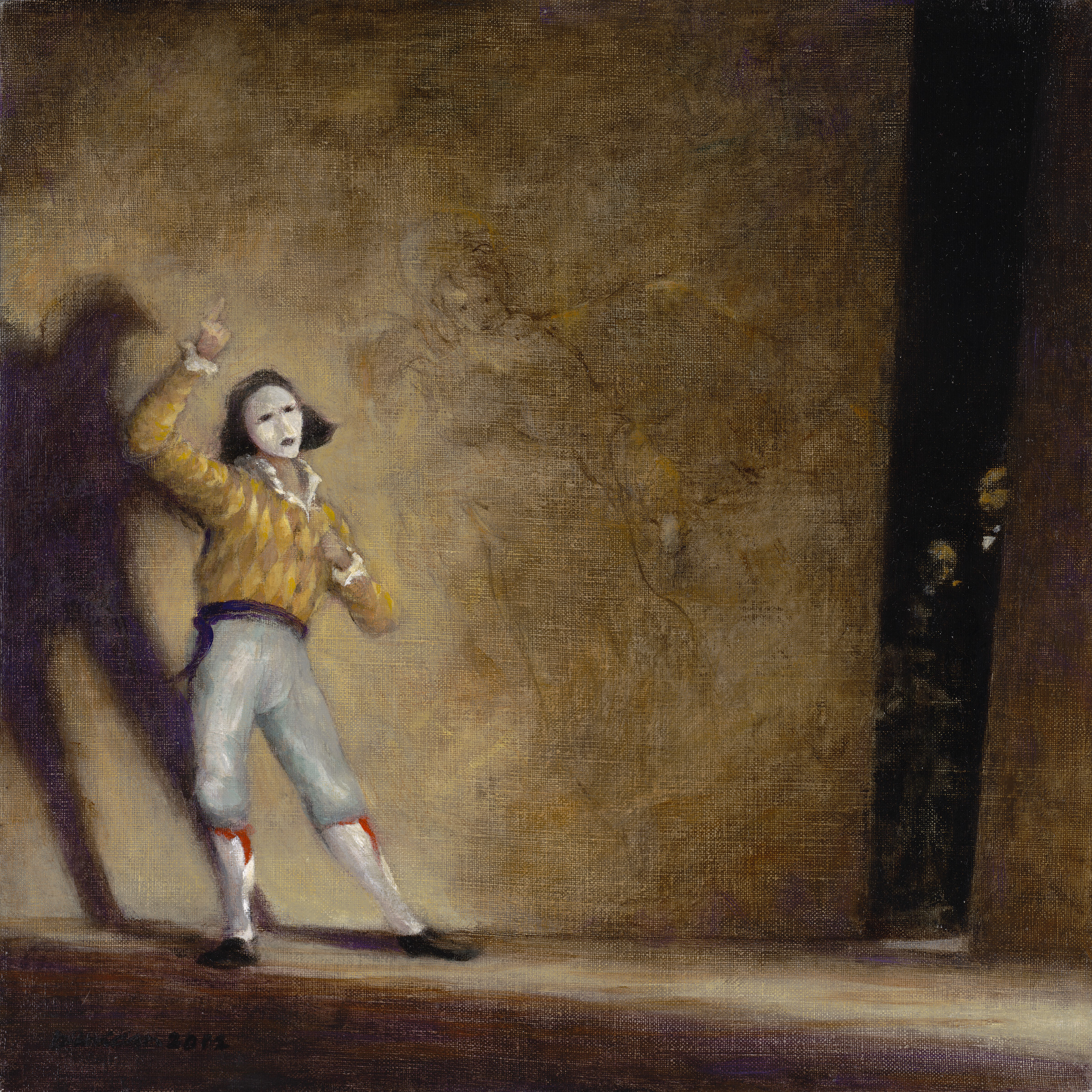 "The Jester   Casein on canvas  15"" x 15"""