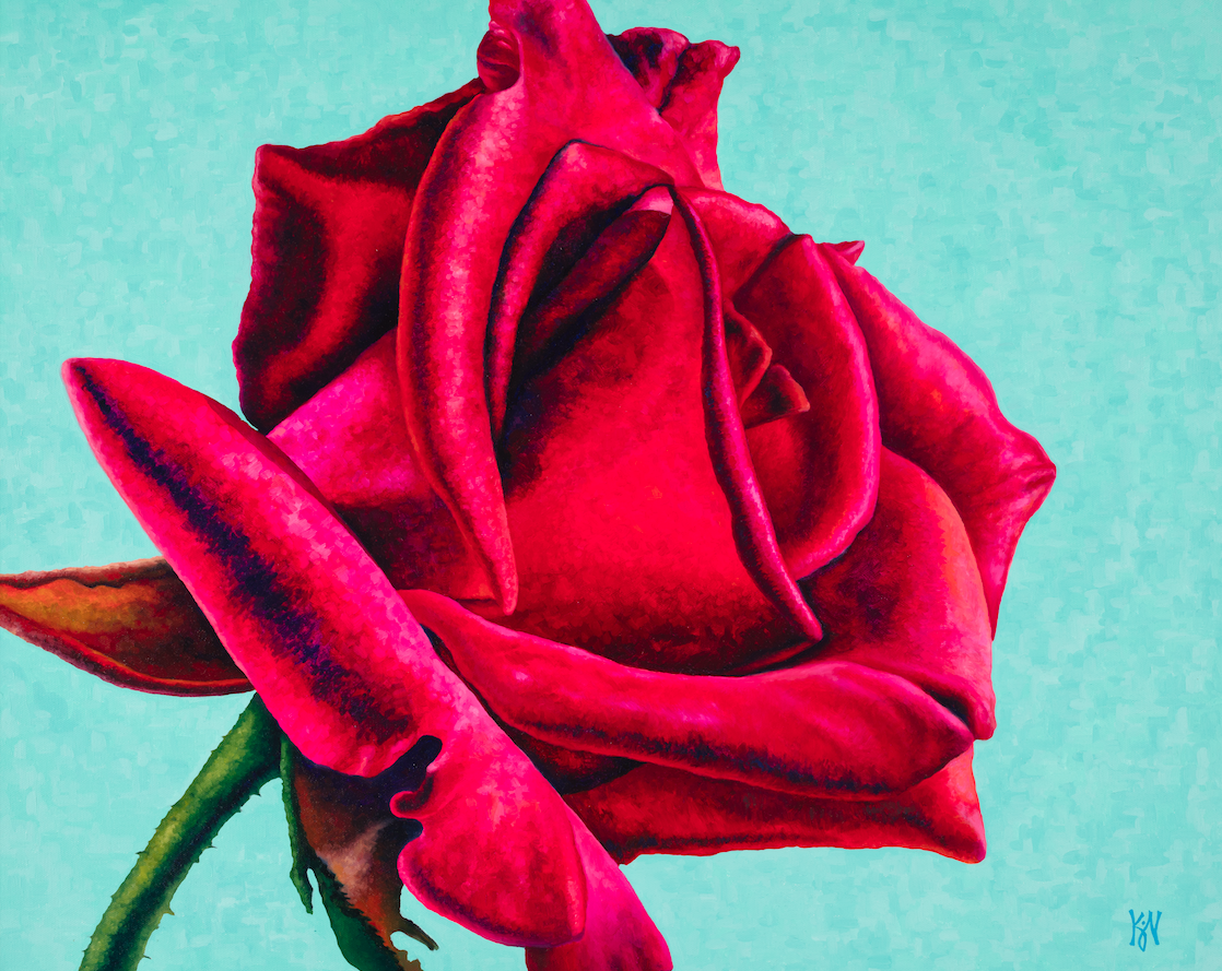 """Rose #1  Oil on wrapped canvas 24"""" h x 30"""" w x 1.5"""" d Available at Lizzards Gallery in Duluth, MN"""