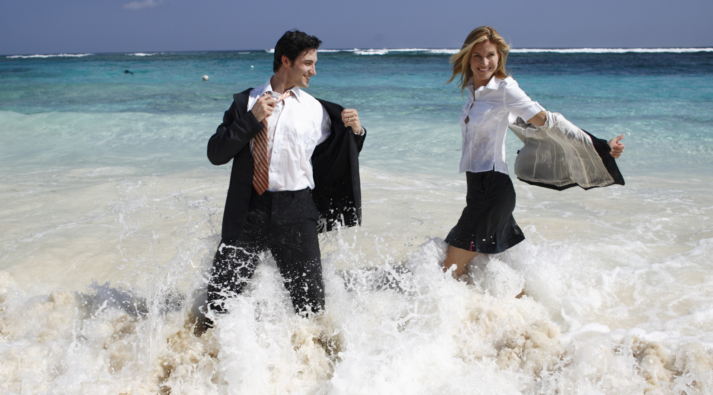 The guy rolled around in the surf so much that his pockets filled with sand and the trousers split wide open. I just kept shooting, with the stylist behind me moaning and freaking out.