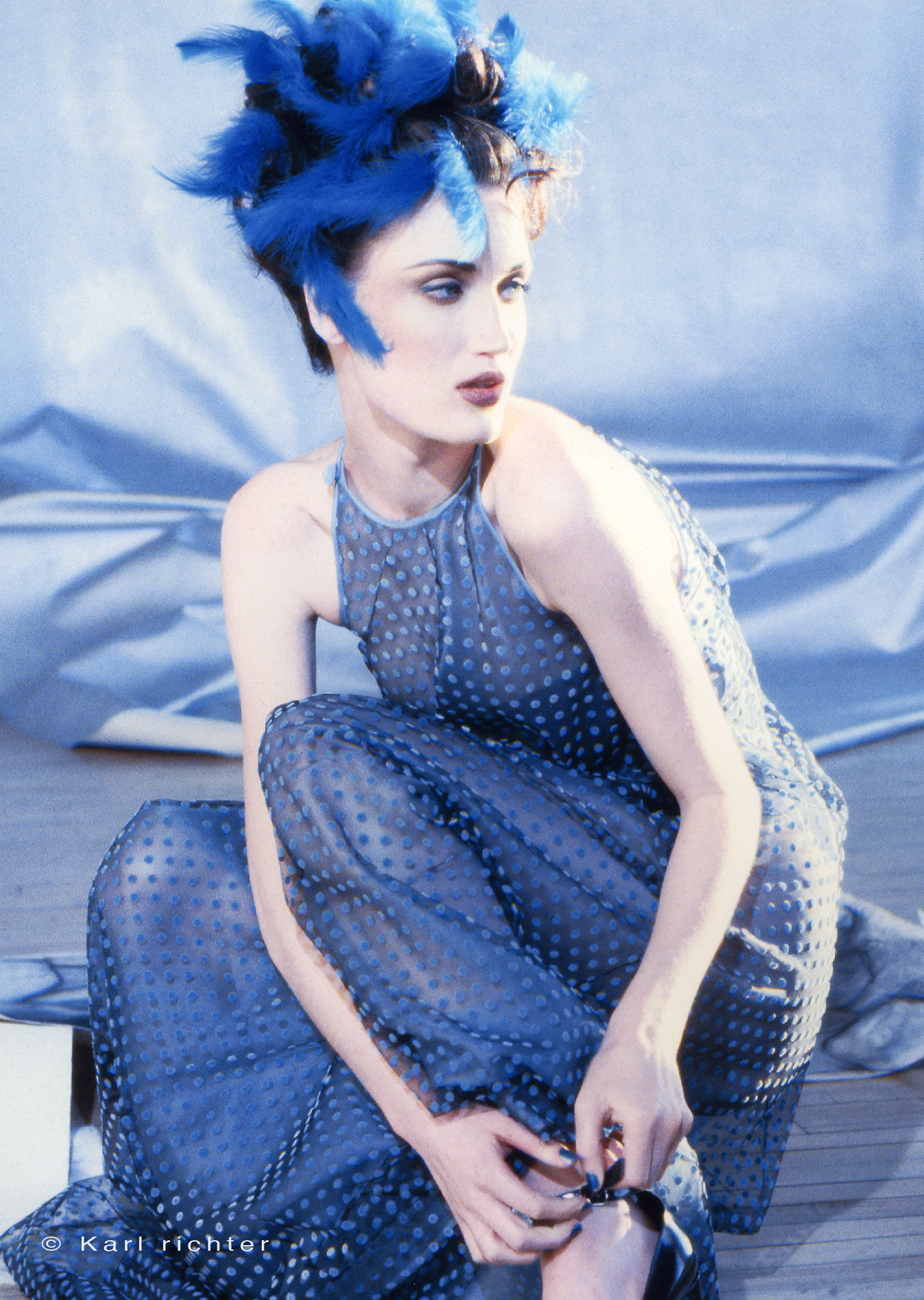 Lori S in blue feathers