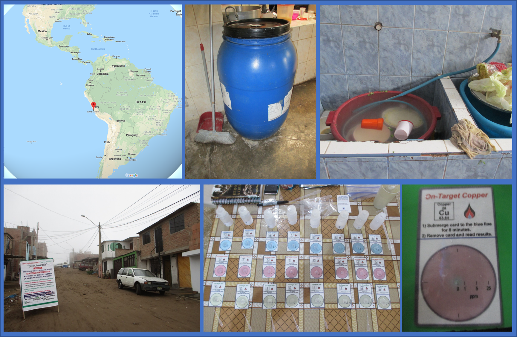 Top Row, Left to Right: Location of Villa El Salvador, Peru. A large plastic barrel that is used for water storage that was one of the sampling locations. A sink used for cooking and cleaning that was another water sampling location.  Bottom Row, Left to Right: A photograph of the Villa El Salvador trip.  On-Target® Water Testing Kits in action. A On-Target® test card used for quantifying dissolved copper in water.