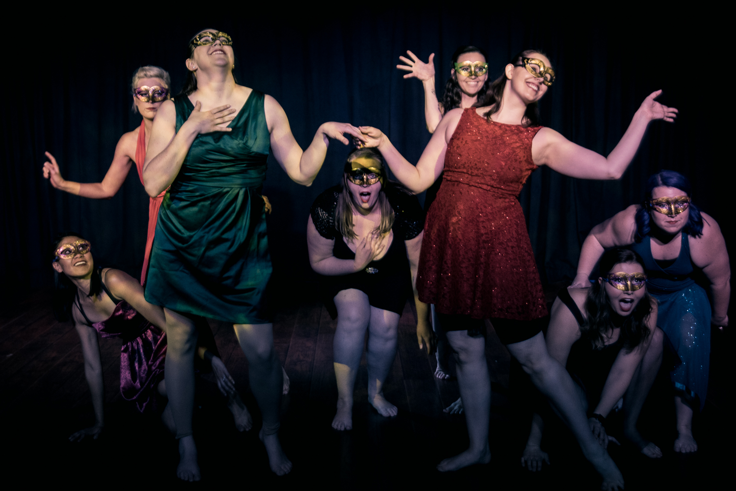 """Unmasked"", Choreographed by: Annalise Hummerland Dancers (front left to right): Alisa Lindsay, Laura Yeomans, Bethany Gravert, Alyssa Ferguson, Amber Casillas, Andrea Nightengale, Mary Wolter, and Nicole Byndas Photography: Jon Clay Photography"