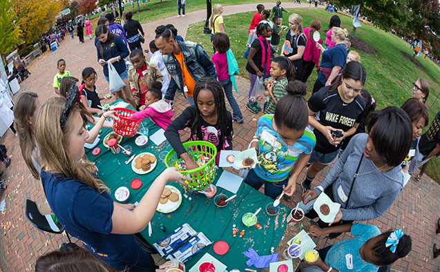 Project Pumpkin is an annual campus-wide event founded in 1989. Each year more than 800 children from local agencies are escorted to the Reynolda campus where students, faculty and staff combine to provide a fun environment for trick-or-treating, carnival games, clowns, and entertainment.