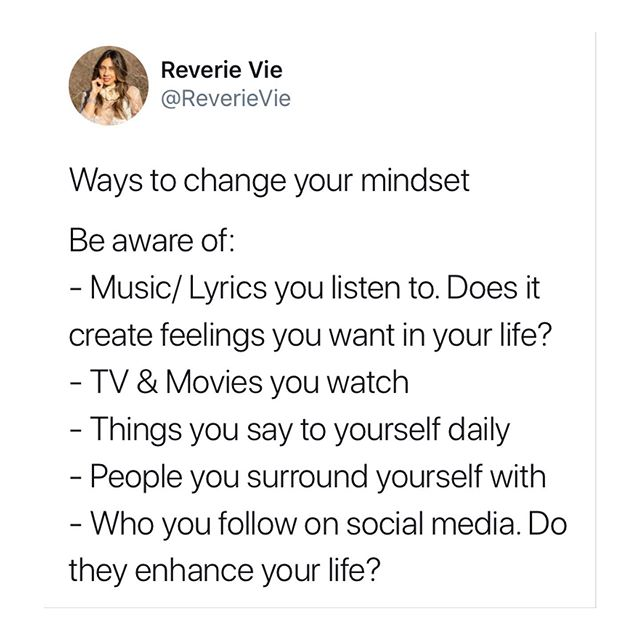Loved that so many people were finding this useful. Decided to make it a post. ⠀⠀⠀⠀⠀⠀⠀⠀⠀ ⠀⠀⠀⠀⠀⠀⠀⠀⠀ Join me on Twitter for some fun. As an air sign, Twitter was always my favorite platform. Going to start sharing more there. If you're interested in this type of thing, join me over there for conversations of the mind, science and spiritual. And anything else fun or mind bending - tag me @ reverievie (on Twitter) to engage in conversation 💭 ⠀⠀⠀⠀⠀⠀⠀⠀⠀ ⠀⠀⠀⠀⠀⠀⠀⠀⠀ #mindset #mindsetquotes #spirituality #changeyourmind #intention #healingjourney #twitterquotes #aquarius #airsign