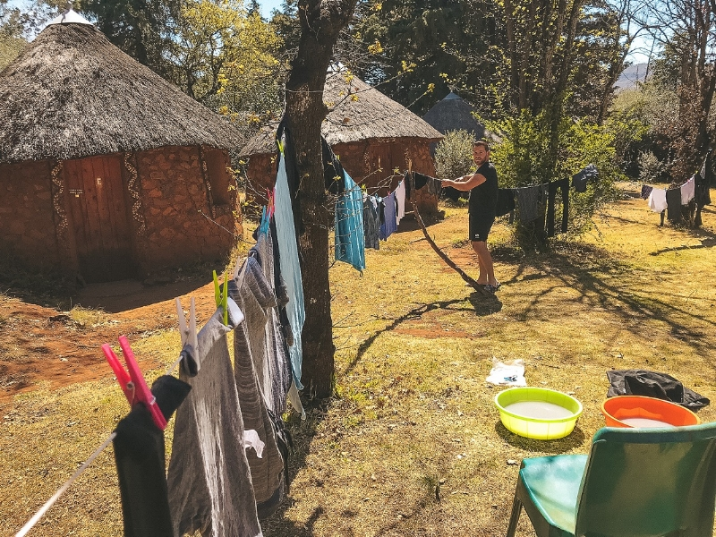 One of our first duties was the laundry while the sun was out…