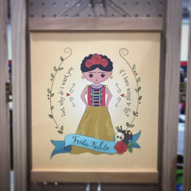 """An 8 year old girl talking to her friend at the market looking at my prints: """"I love Frida, she's my role model"""" #girlpower #frida #fridakahlo"""