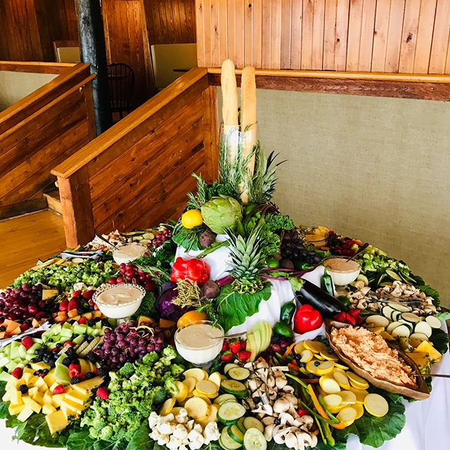 Rehearsal dinner and wedding reception for a special local couple this weekend! #tacobar #pastabar #biscuitbar #fruitandvegdisplay @landsendyachtclub