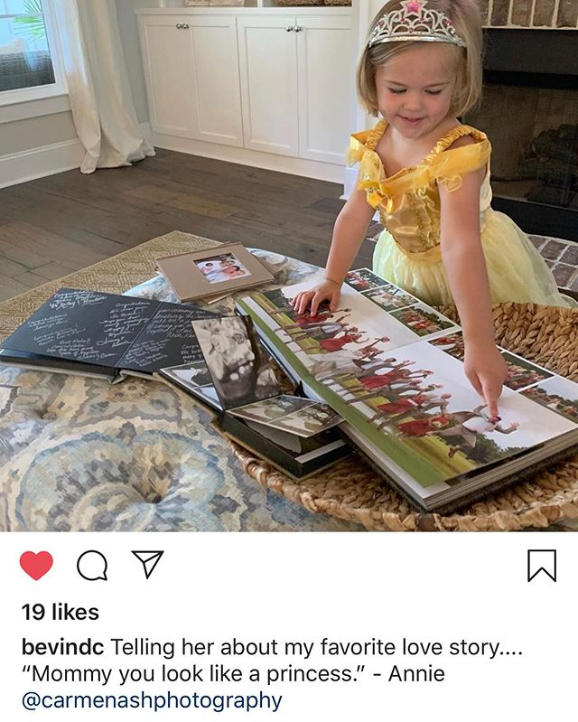 How precious is this sweet little girl looking at one of our past beautiful brides wedding albums!  #MommyUsedToBeAPrincess #carmenashphotography #WeddingAlbum #album  #photographer
