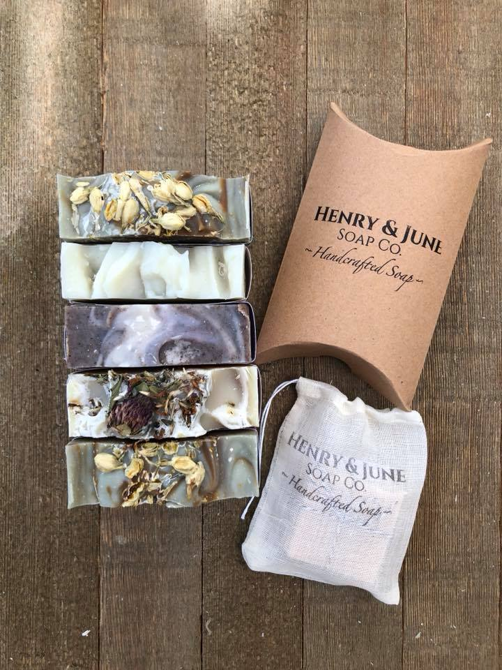 HENRY + JUNE SOAP CO.   Every soapmaker has their own ingredient sourcing, techniques, recipes, and aspirations. Here at Henry & June Soap Co. we carefully craft each soap recipe based on specific skin and aromatherapy benefits. We source as many organic and sustainably-harvested ingredients as we can. Henry & June also incorporates locally-sourced ingredients from the many farms here in Virginia Beach. A few generations of us have only used commercially-made soap from the big-box store. It's our mission to get as many people as we can to experience the pure, simple luxury of high-quality homemade soap made the old-fashioned way (by hand).  Henry & June Soap Co. offers high-quality handcrafted soaps and personal skincare products free of artificial colorants, fragrances and preservatives.