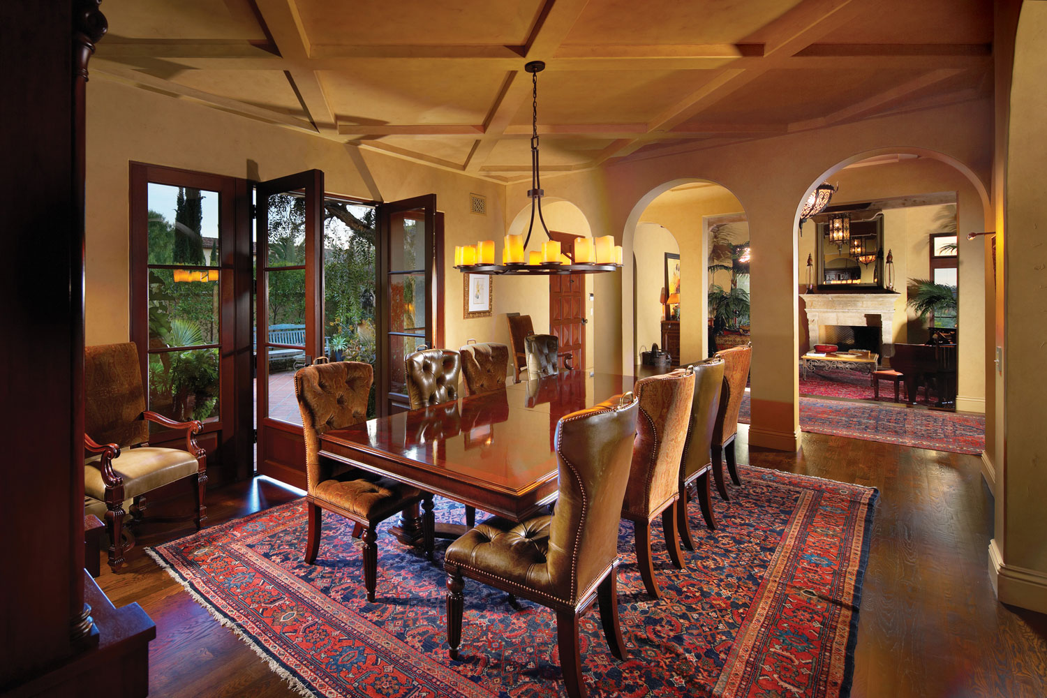 Contemporary-Spanish-Dining-Room-Coffered-Ceiling-French-Door-Corbin-Reeves.jpg