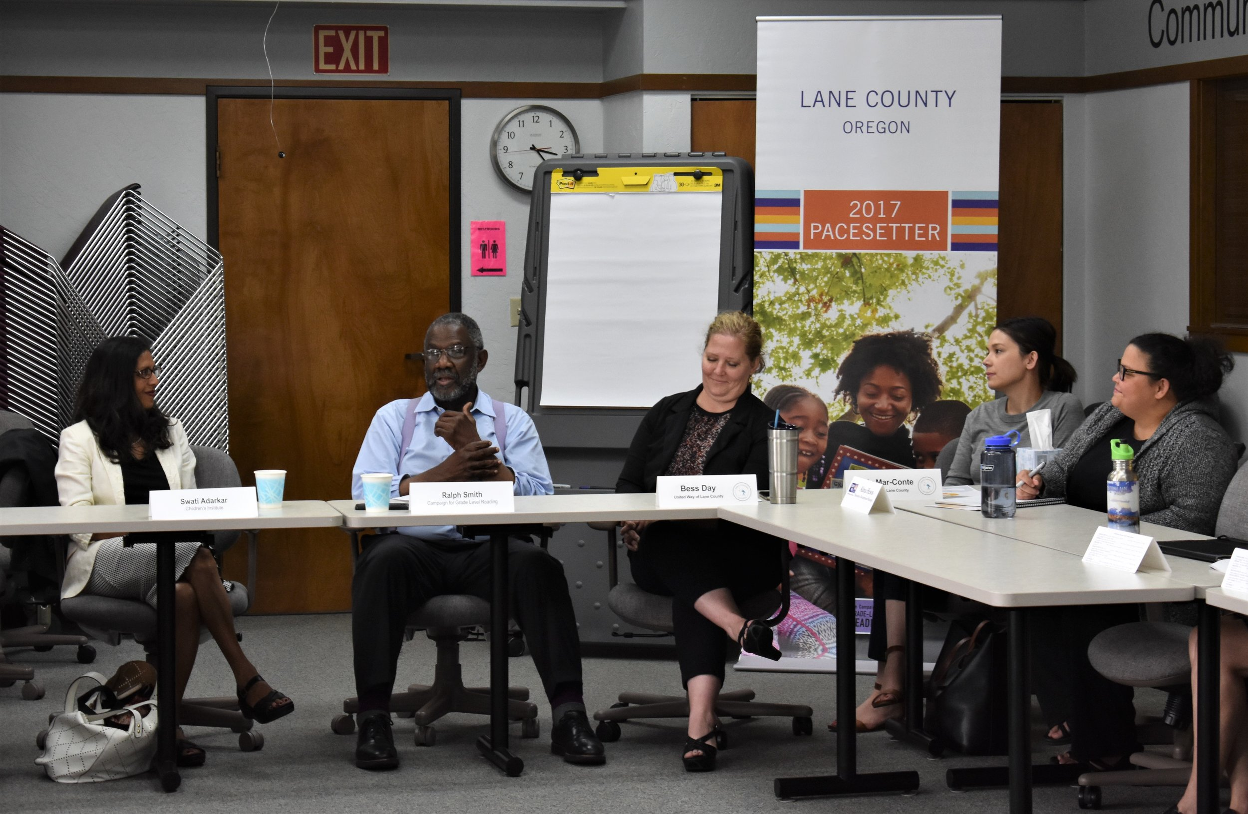 Ralph Smith meeting with early school success stakeholders in Lane County in July 2019.