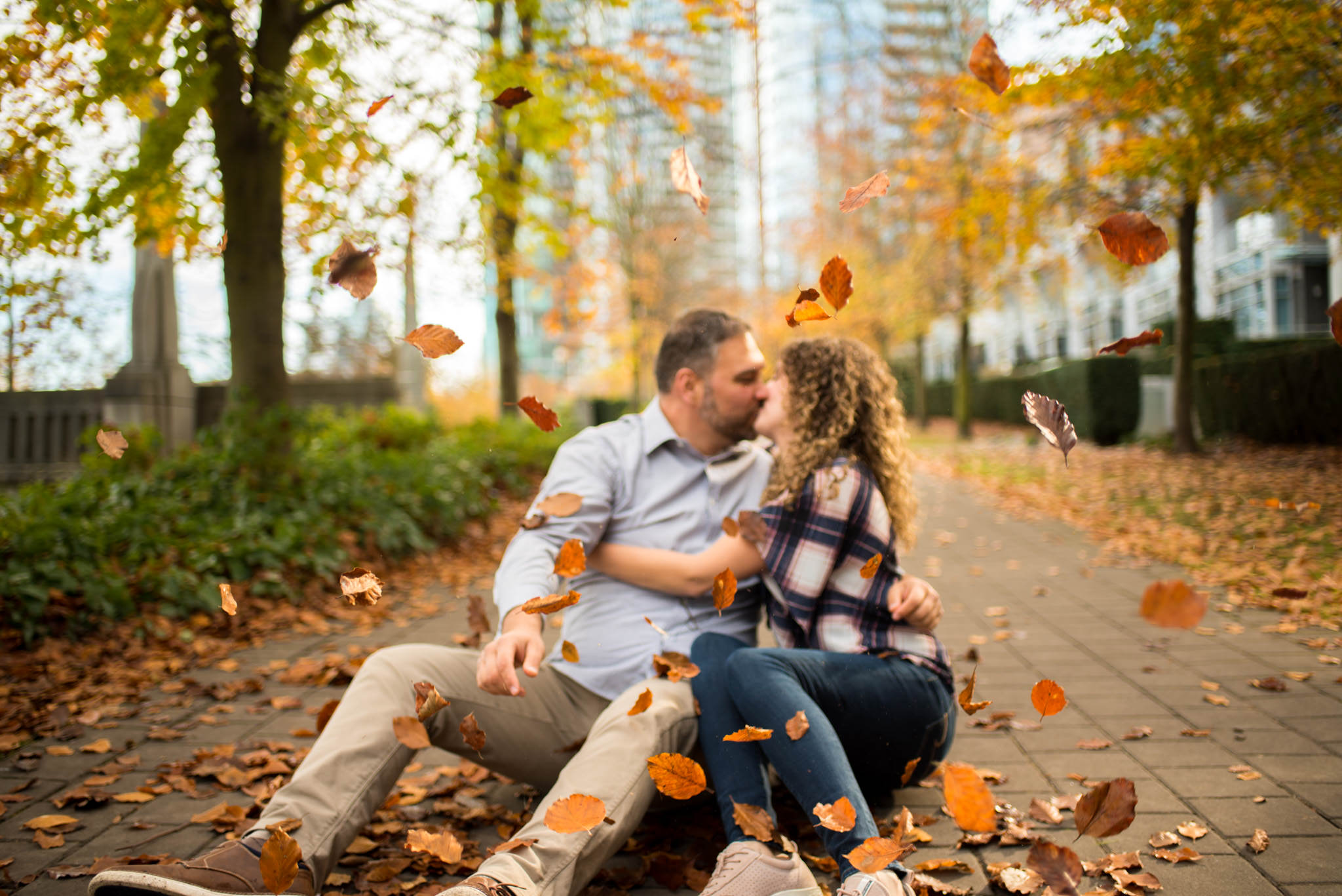 Fall engagement session in downtown Vancouver