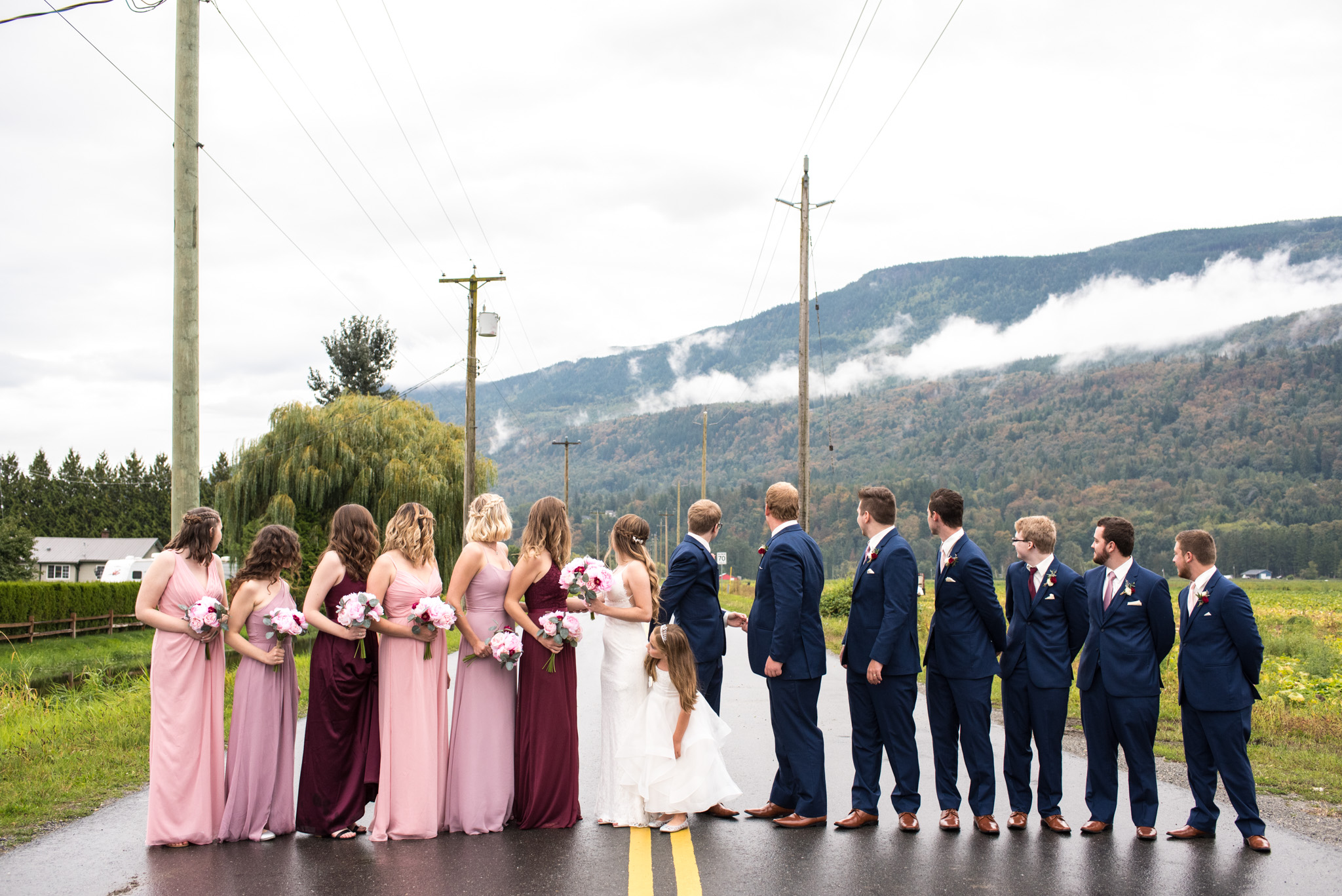 Bridal party walking down the street in Abbotsford BC