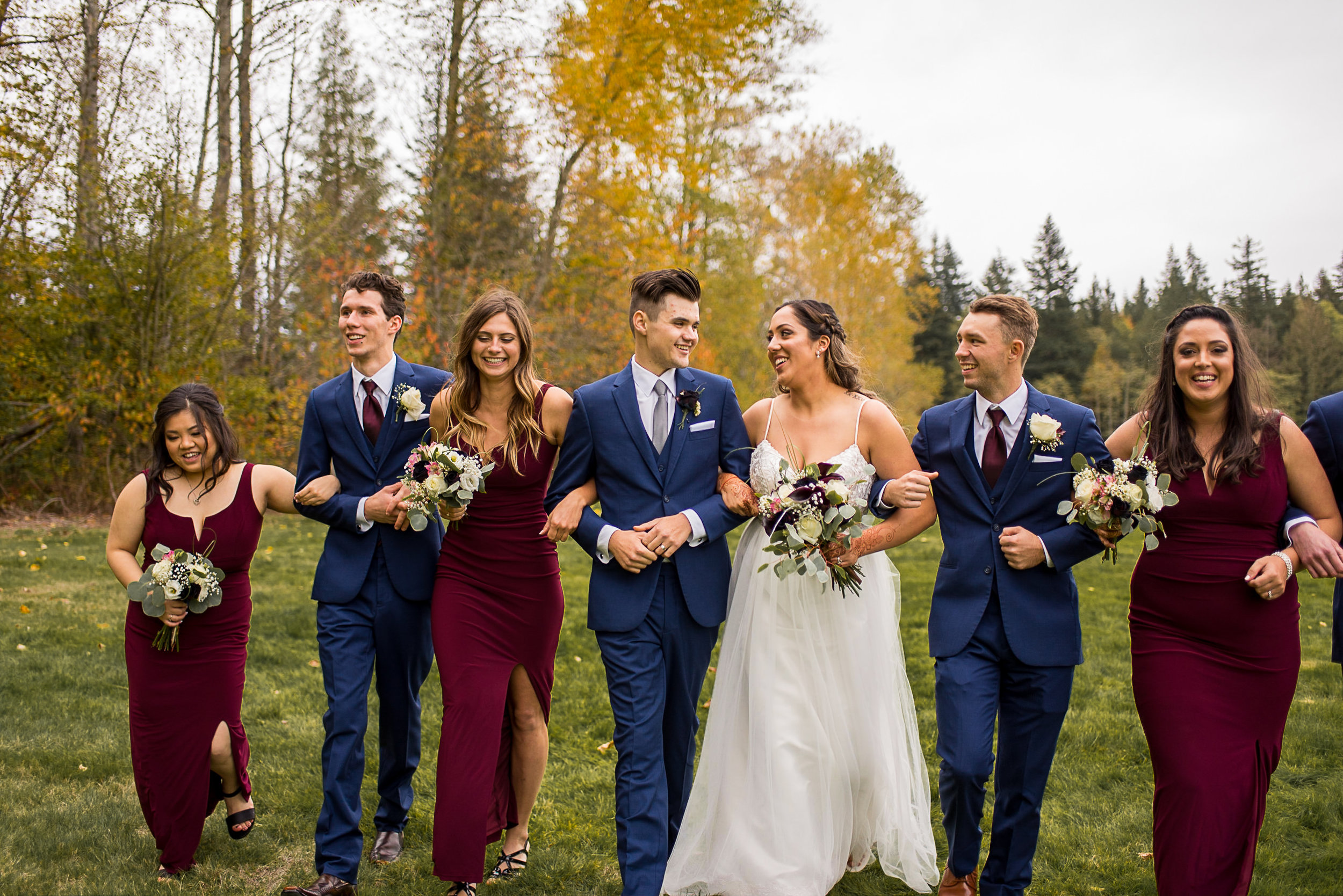 Wedding party at Campbell Valley Park in Langley BC