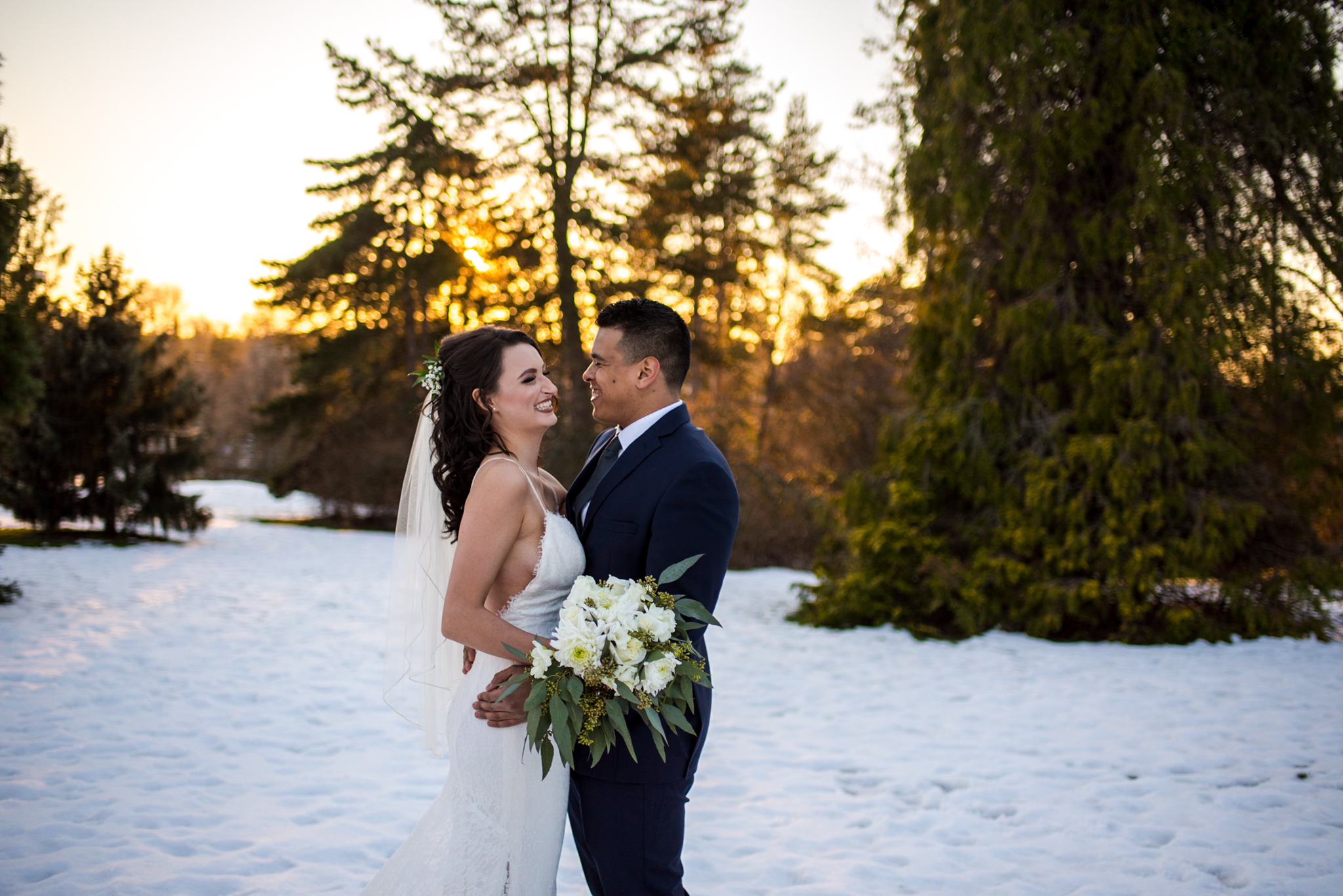 Bride and Groom in Queen Elizabeth Park in Vancouver BC
