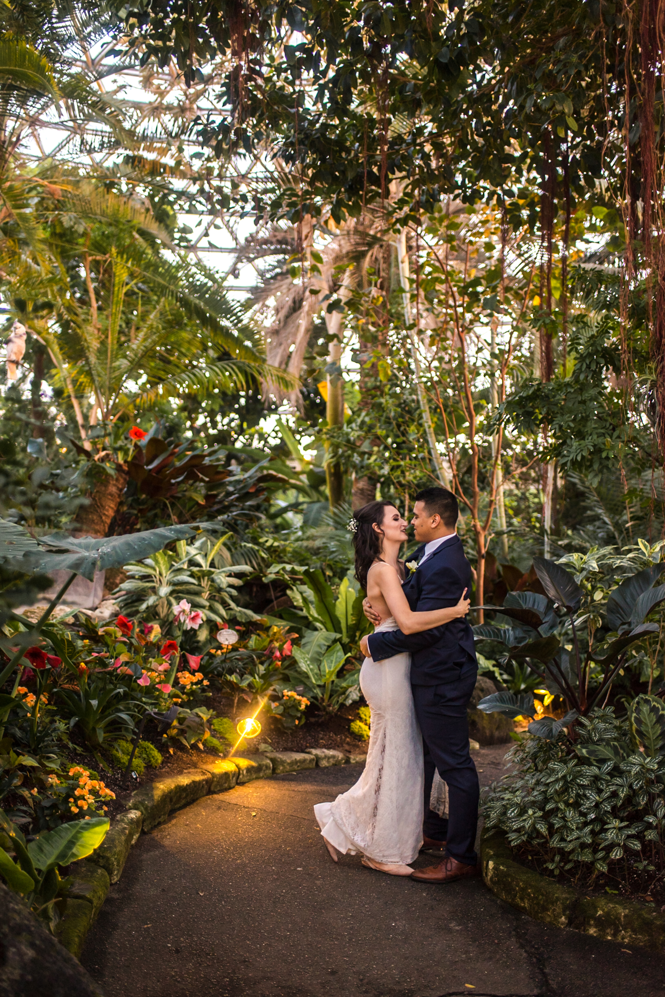 Bride and Groom in Bloedel Conservatory, Vancouver BC