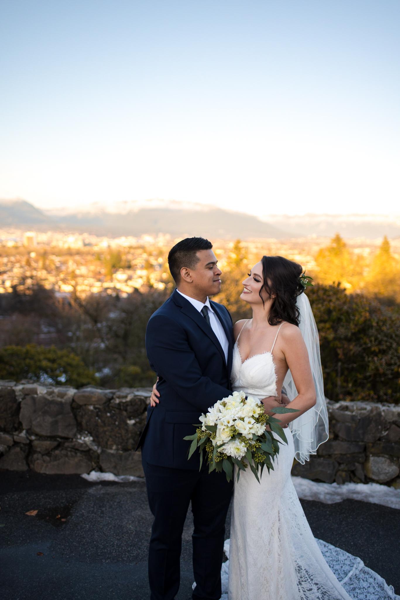 Bride and Groom in Queen Elizabeth Park overlooking Vancouver BC