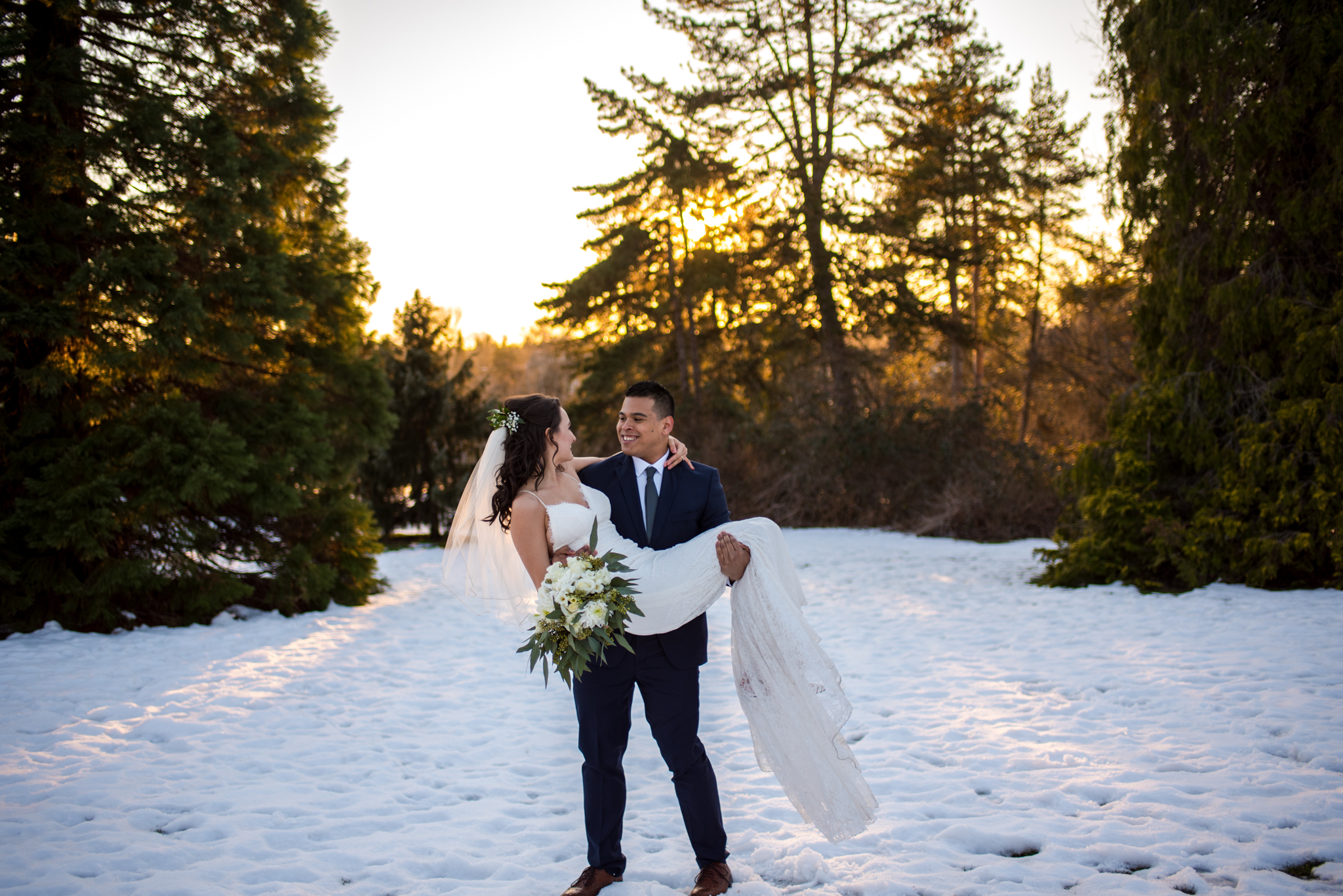 Bride and Groom in Snowy Park in Vancouver BC