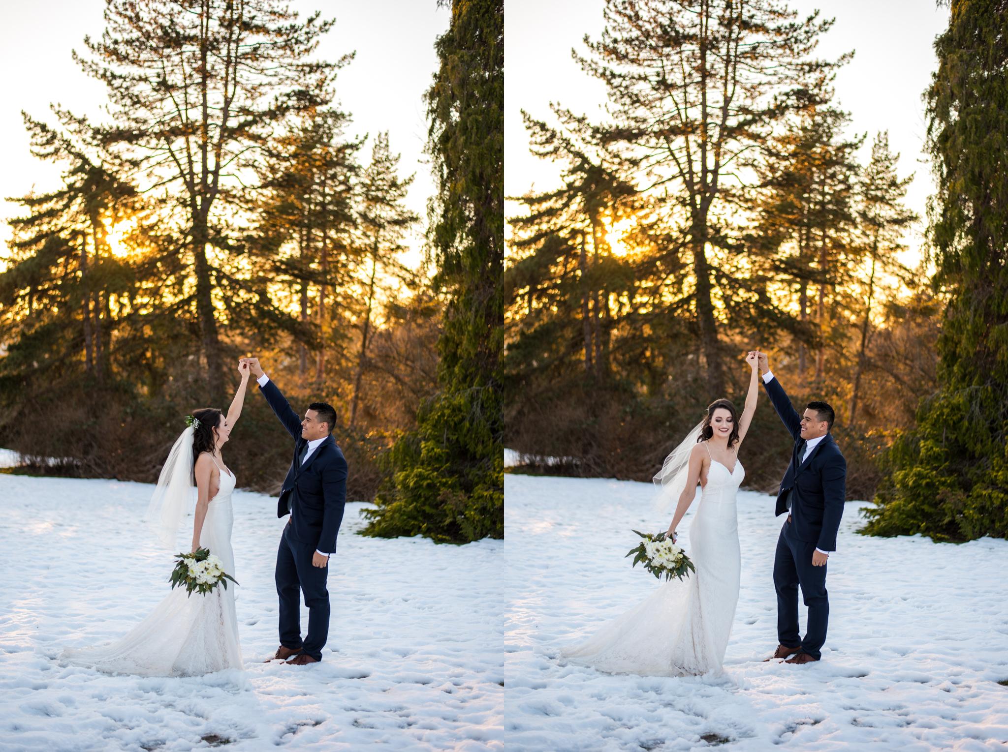 Bride and Groom in Queen Elizabeth Park in the snow