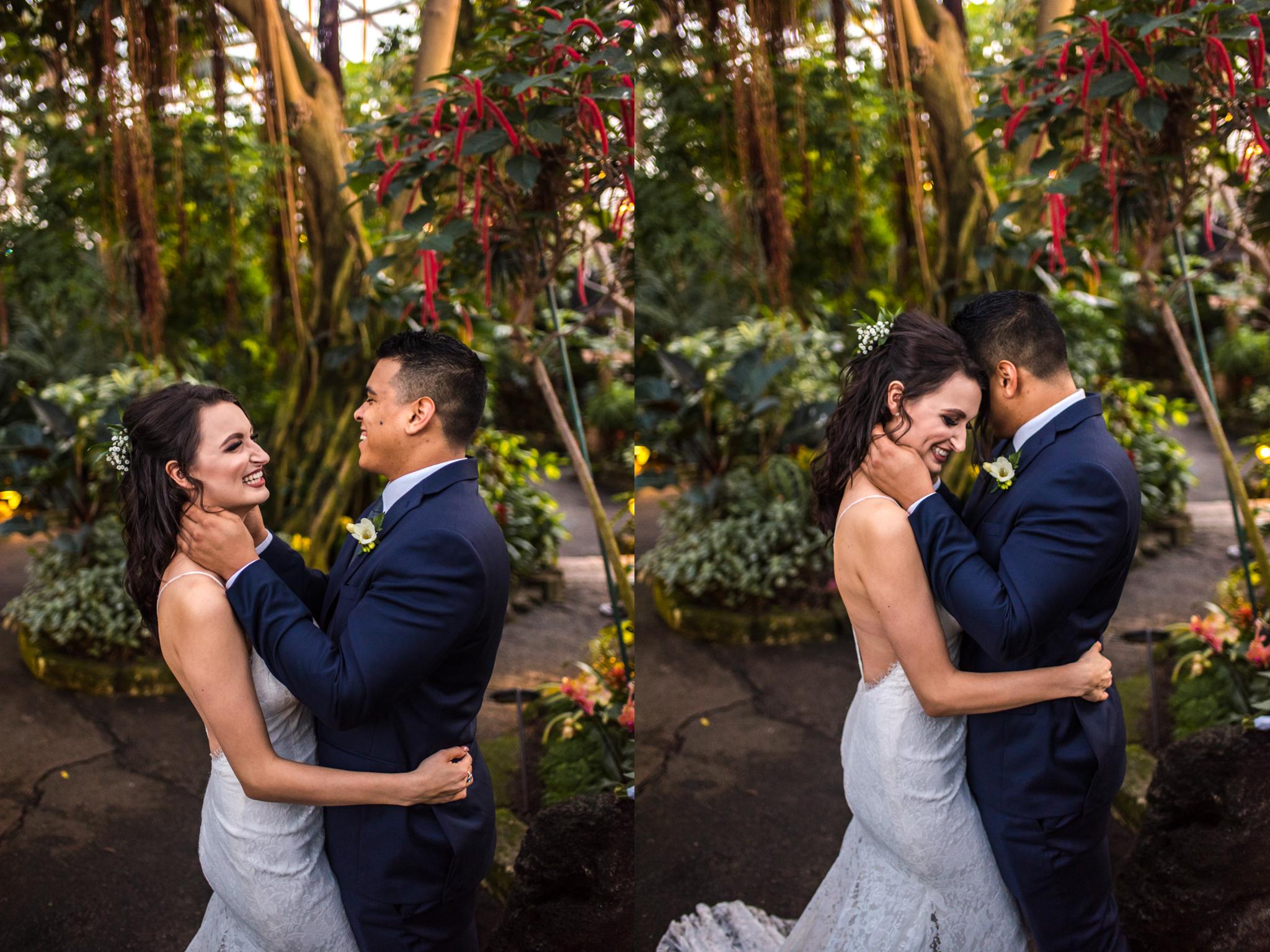 Bride and Groom in Bloedel Conservatory in Queen Elizabeth Park
