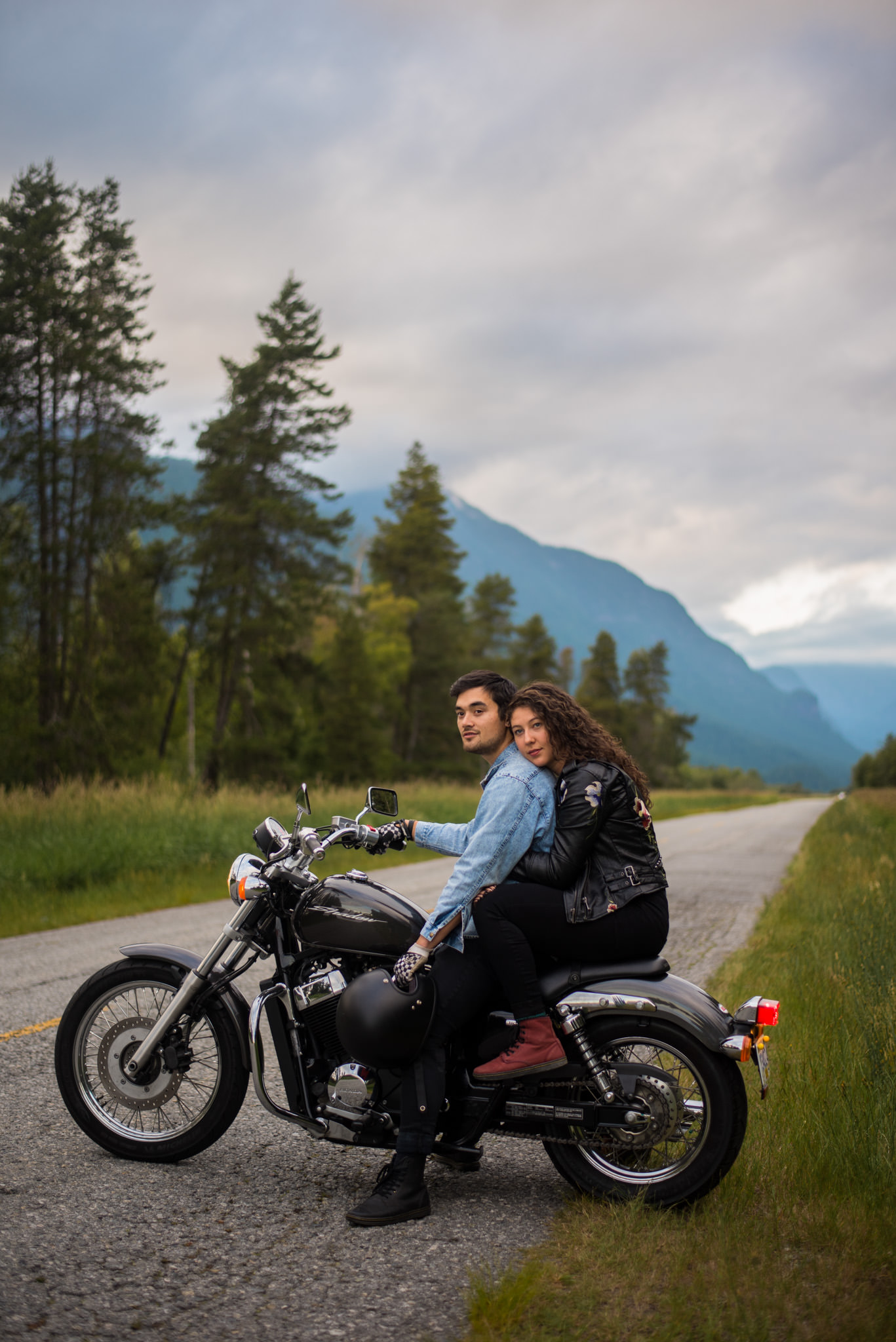 Engaged couple on motorbike in Pitt Meadows, BC
