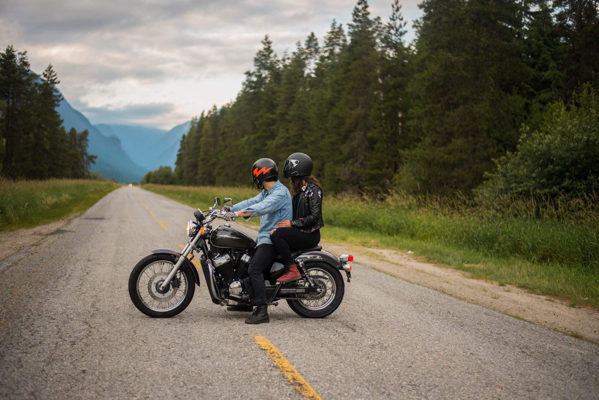 Engaged couple on motorbike in pitt meadows