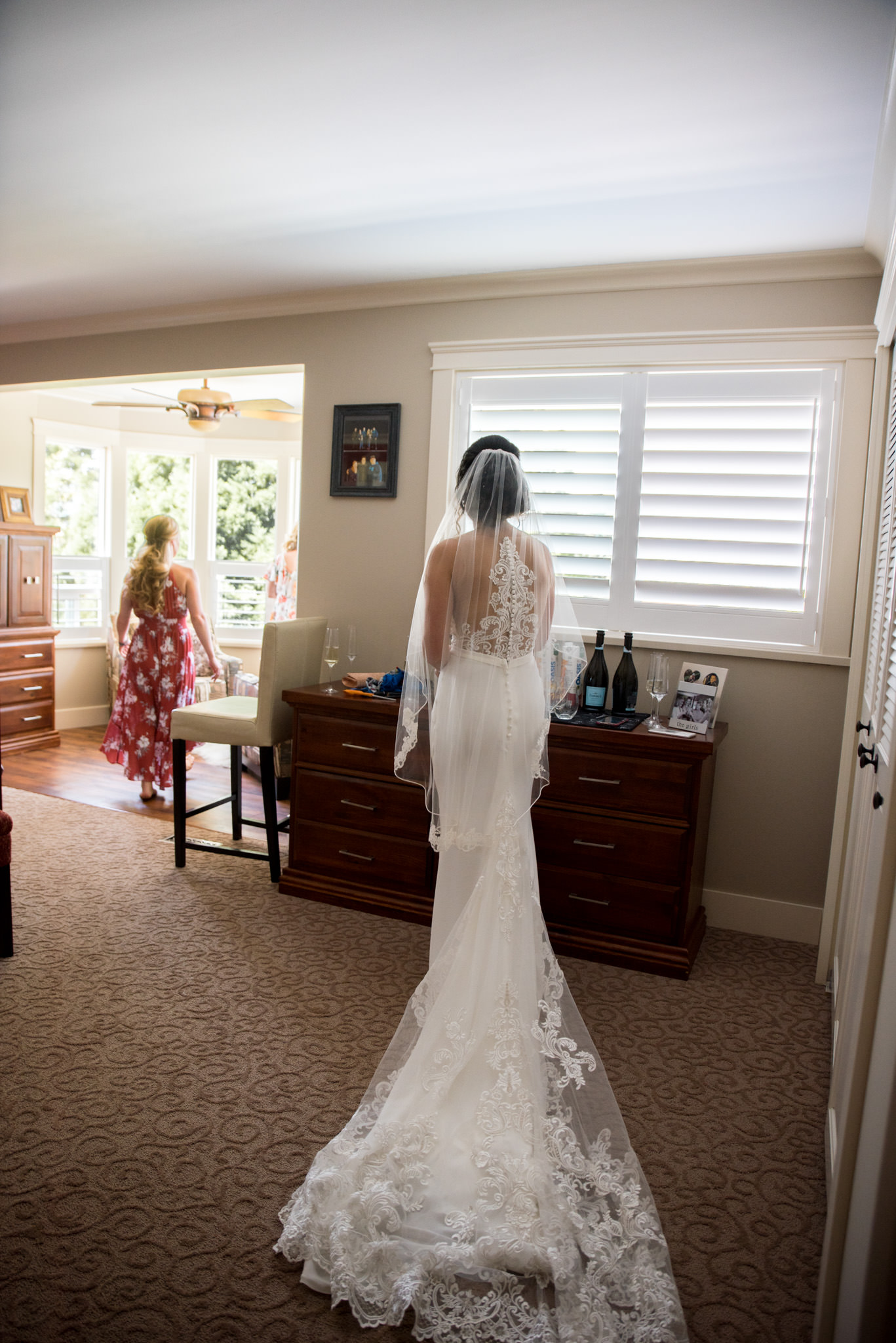 Bride getting ready in a house in BC, Canada